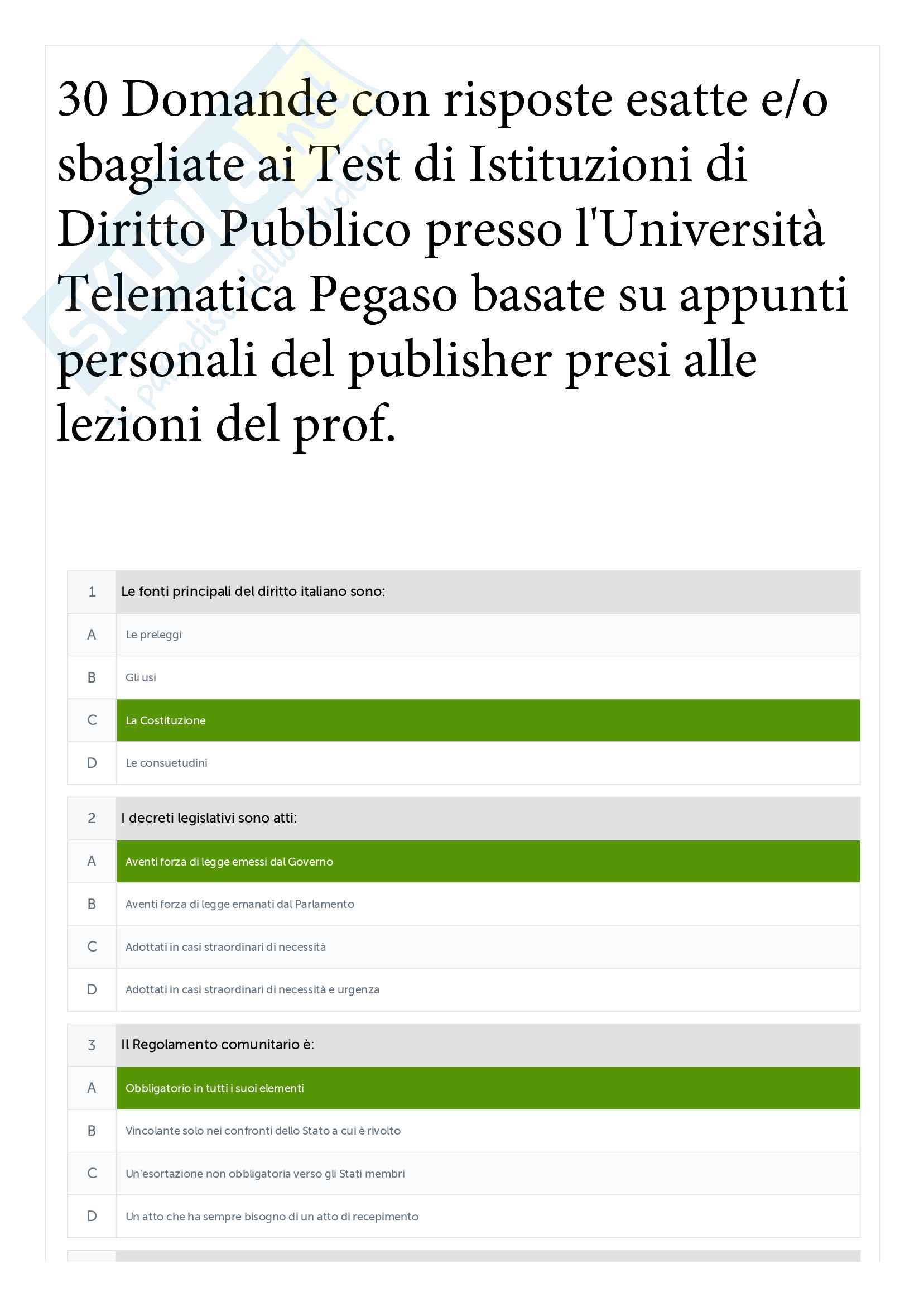 30 Test Istituzioni di diritto Pubblico