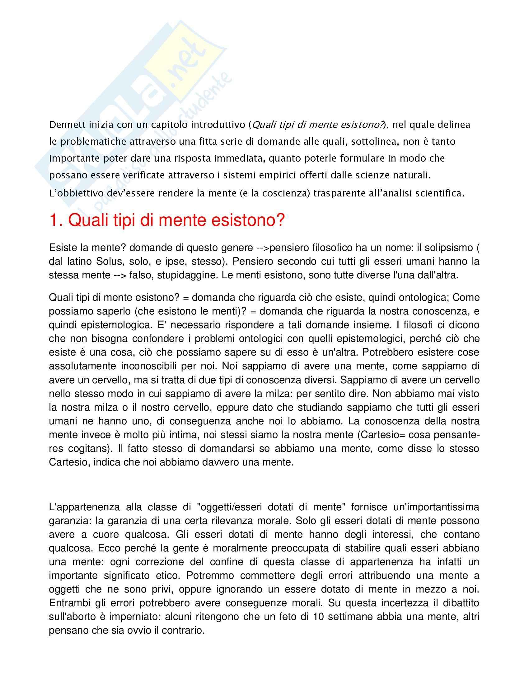Riassunto esame Filosofia teoretica, prof. La Rocca, libro consigliato La mente e le menti, Dennet