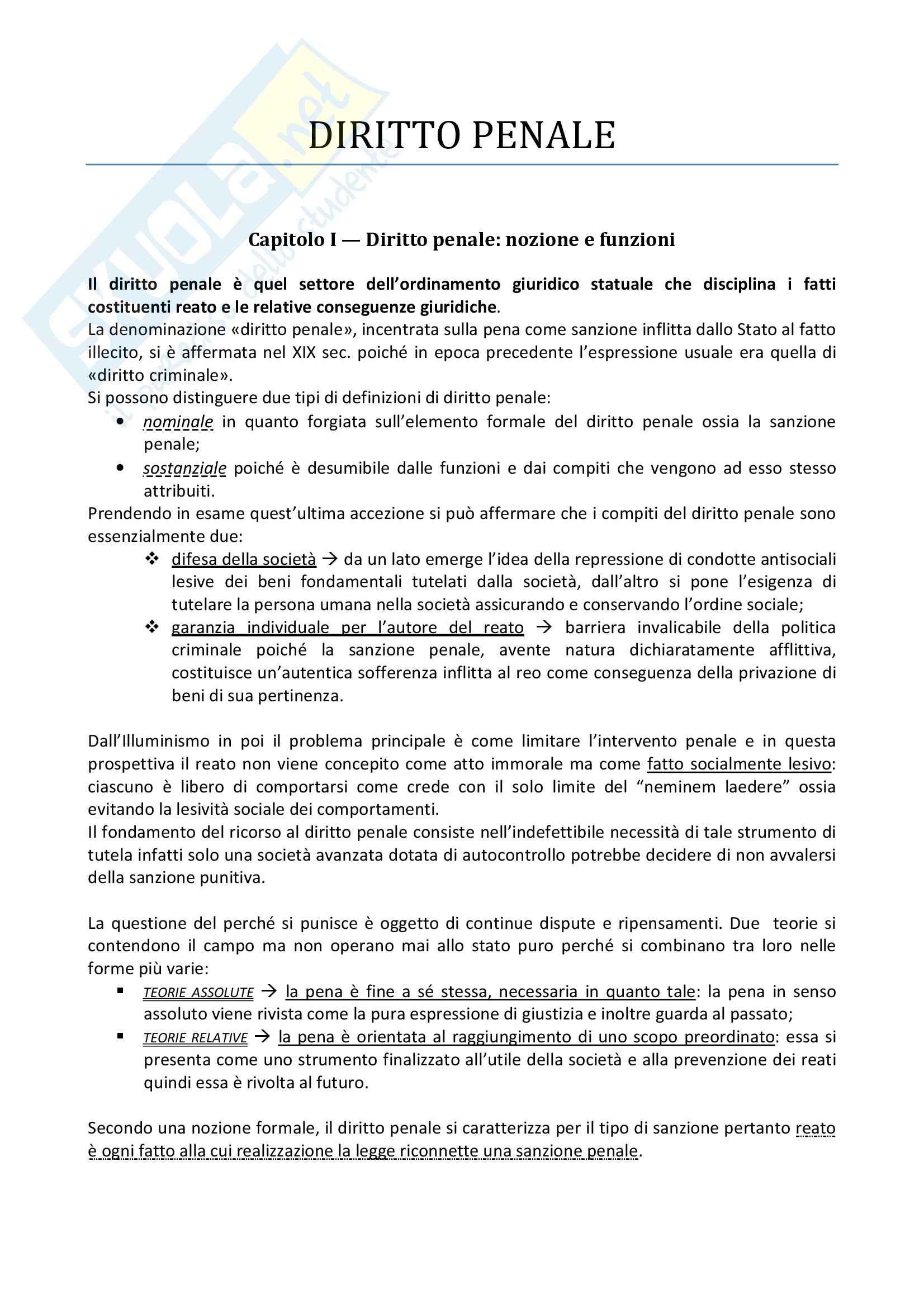 Riassunto esame Diritto Penale, prof. Canestrari, libro consigliato Manuale di Diritto Penale