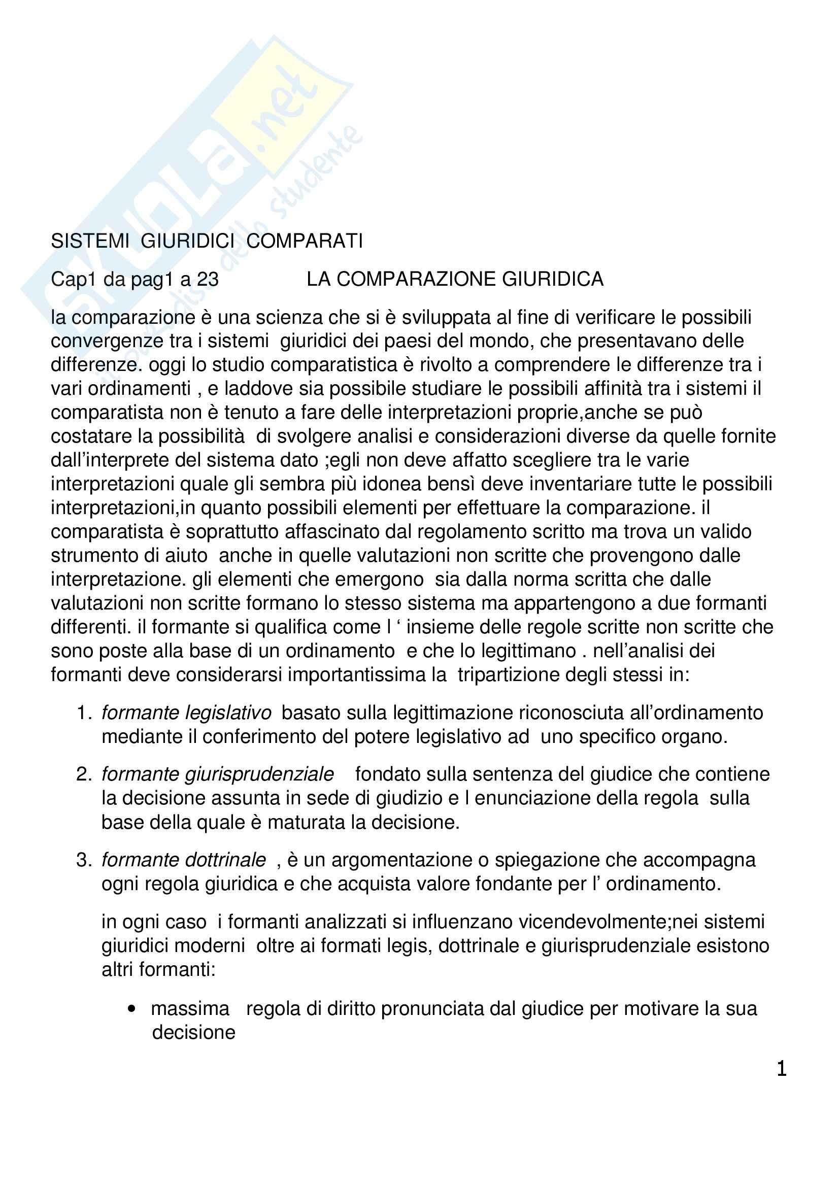 Riassunto esame Diritto Privato Comparato, prof. Corapi, libro consigliato Sistemi Giuridici Comparati, Gambaro, Sacco