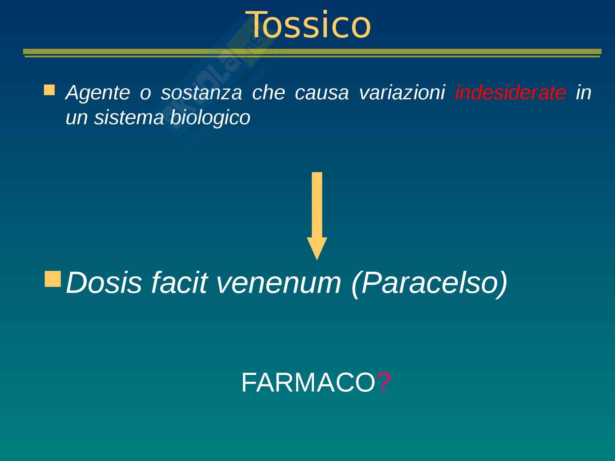 Tossicologia e mutagenesi ambientale, lezione 1 - Appunti
