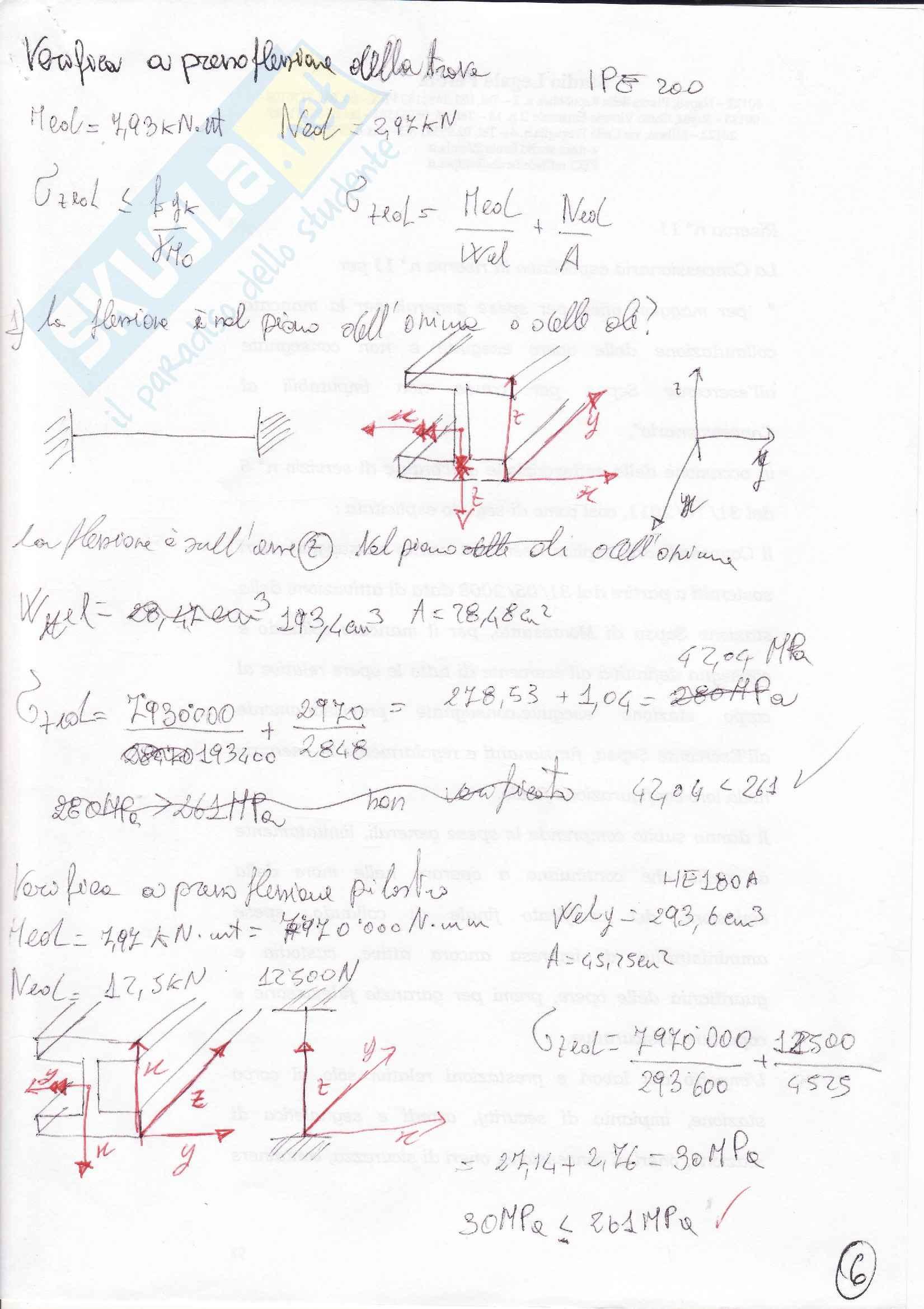 Verifica a pressoflessione di una trave in acciaio: Appunti di Tecnica