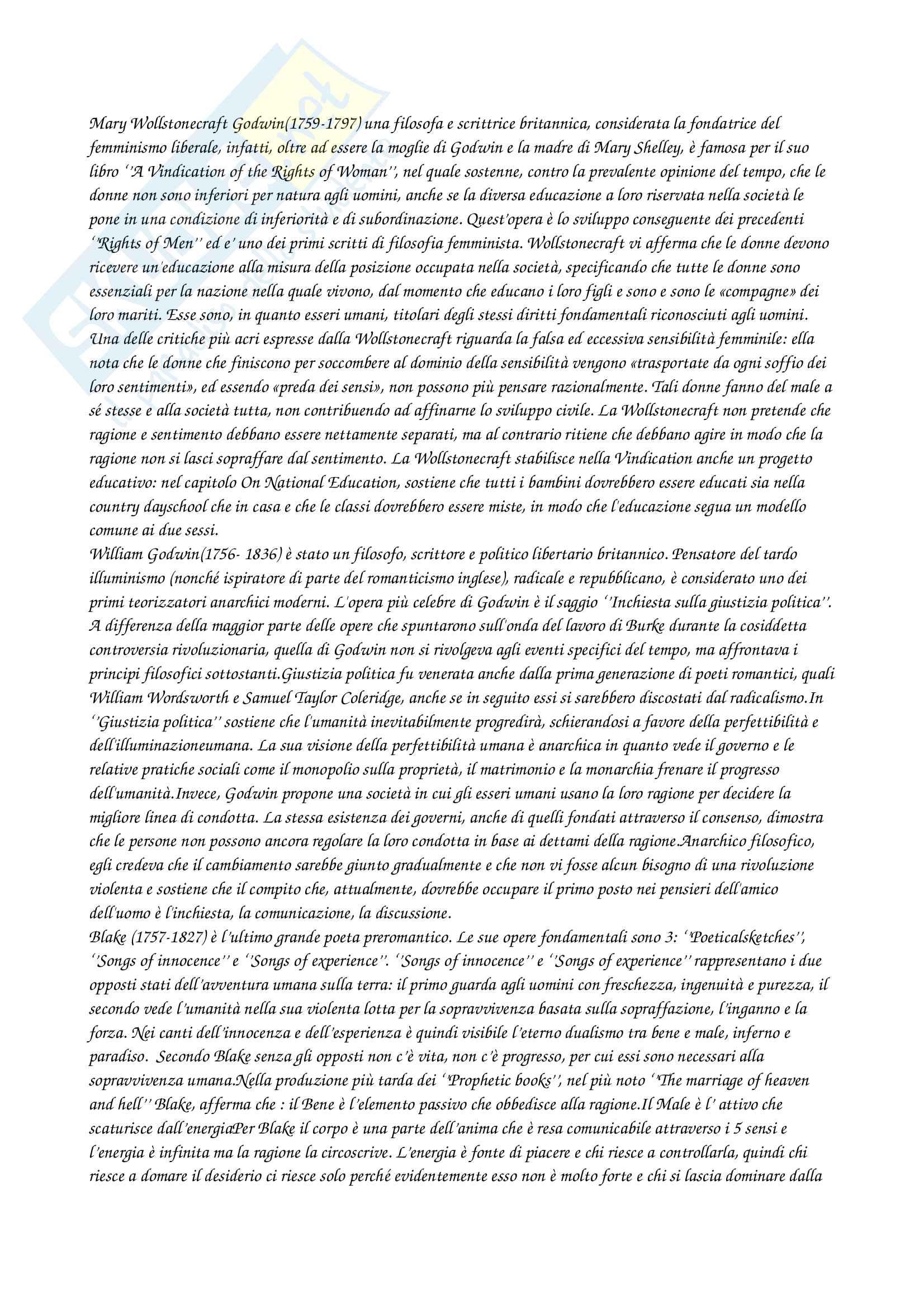 Letteratura Inglese I fine 700-inizio 800 (autori e opere) Pag. 1