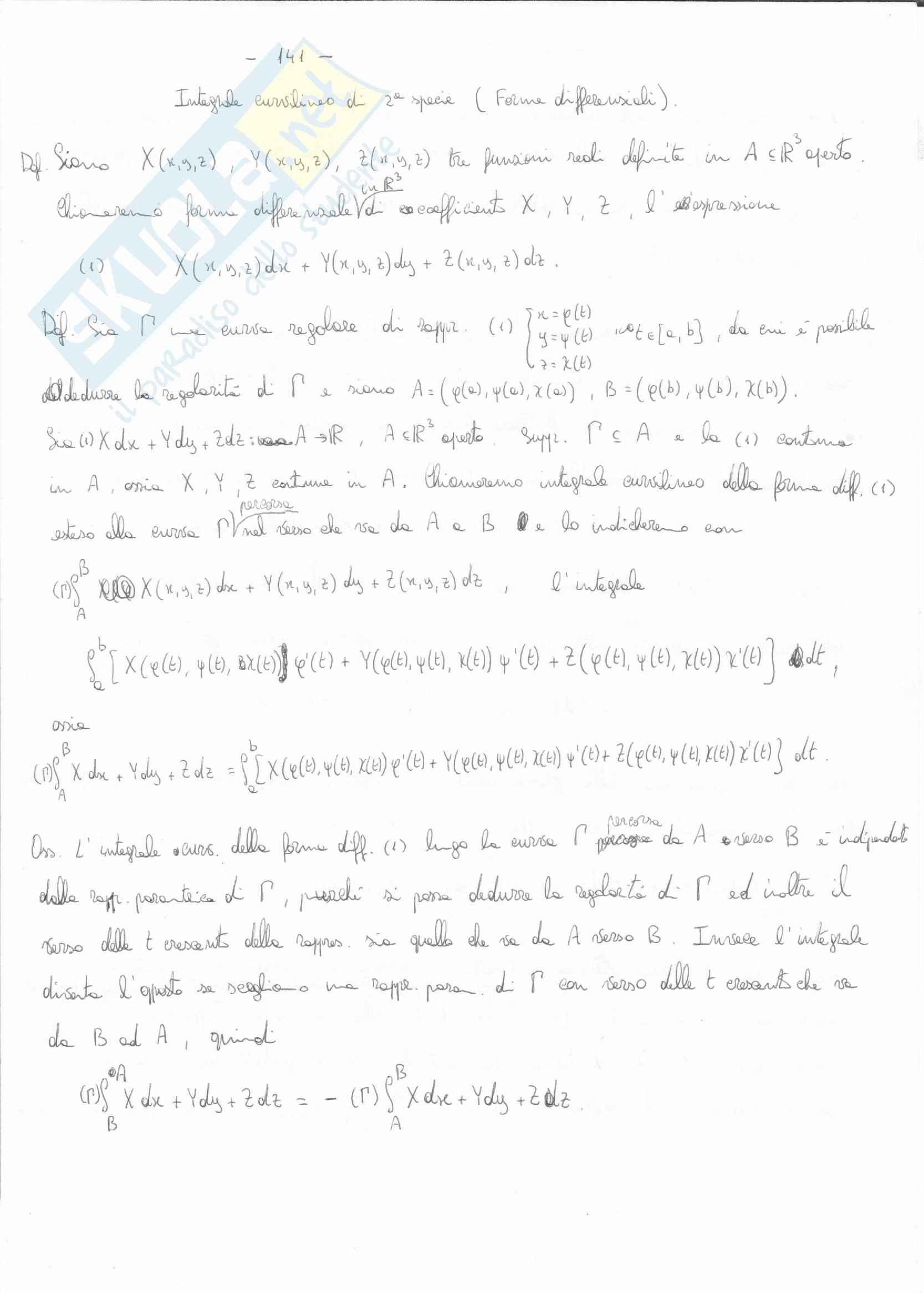 Analisi matematica 2 -l'integrale curvilinio di seconda specie