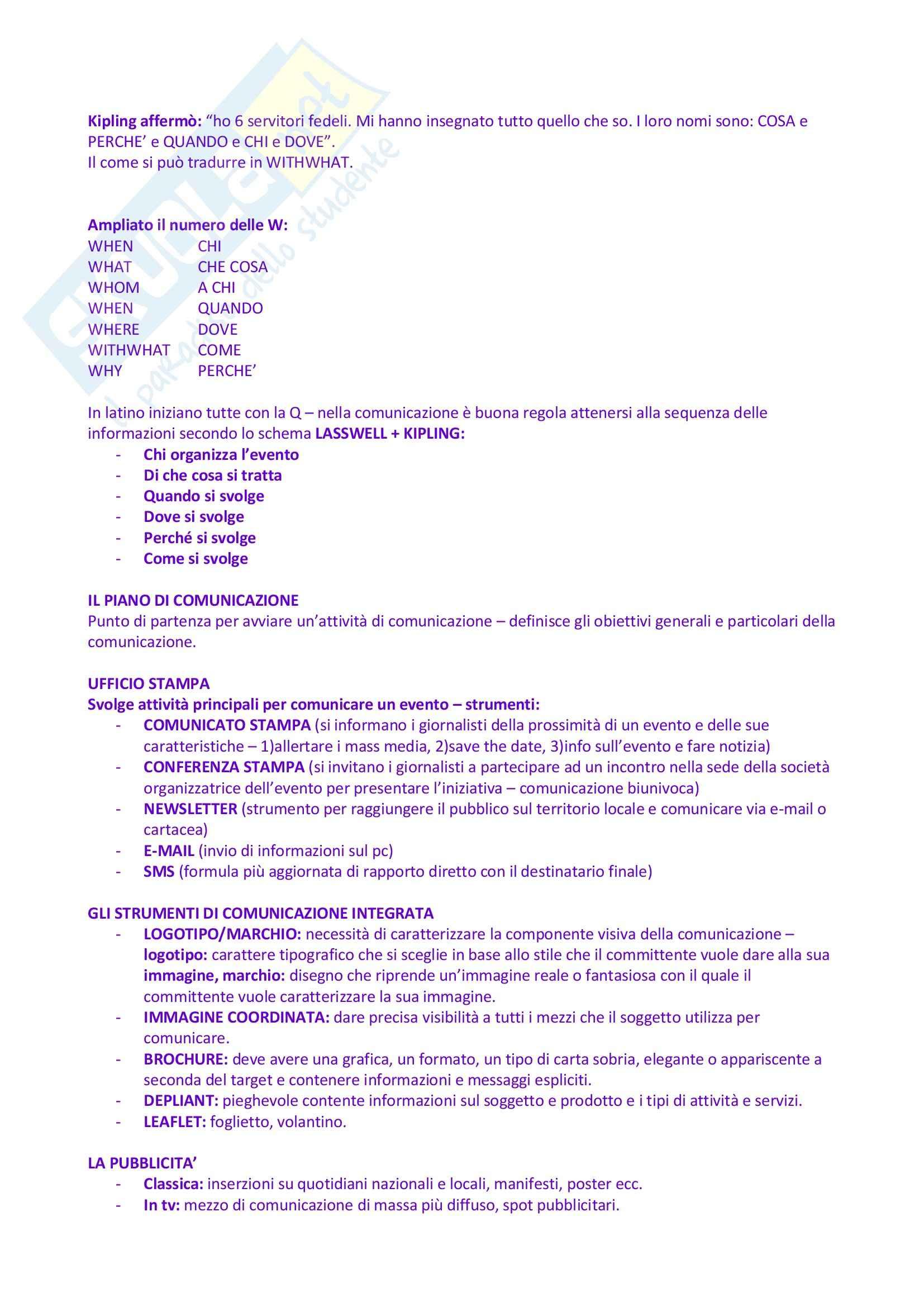 Riassunto esame Organizzazione e Gestione degli Eventi e dello Spettacolo, prof. Monno, libro consigliato Organizzare Eventi, Tavalazzi, Regina Pag. 11