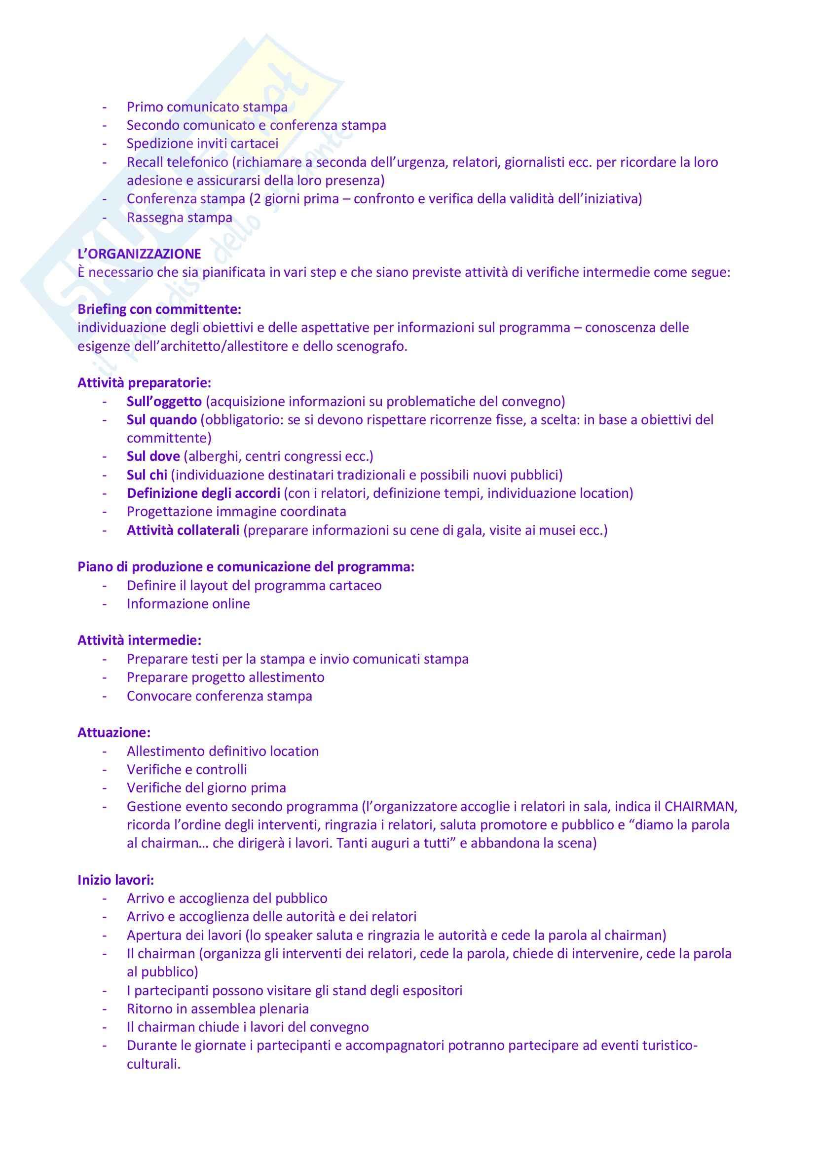 Riassunto esame Organizzazione e Gestione degli Eventi e dello Spettacolo, prof. Monno, libro consigliato Organizzare Eventi, Tavalazzi, Regina Pag. 16