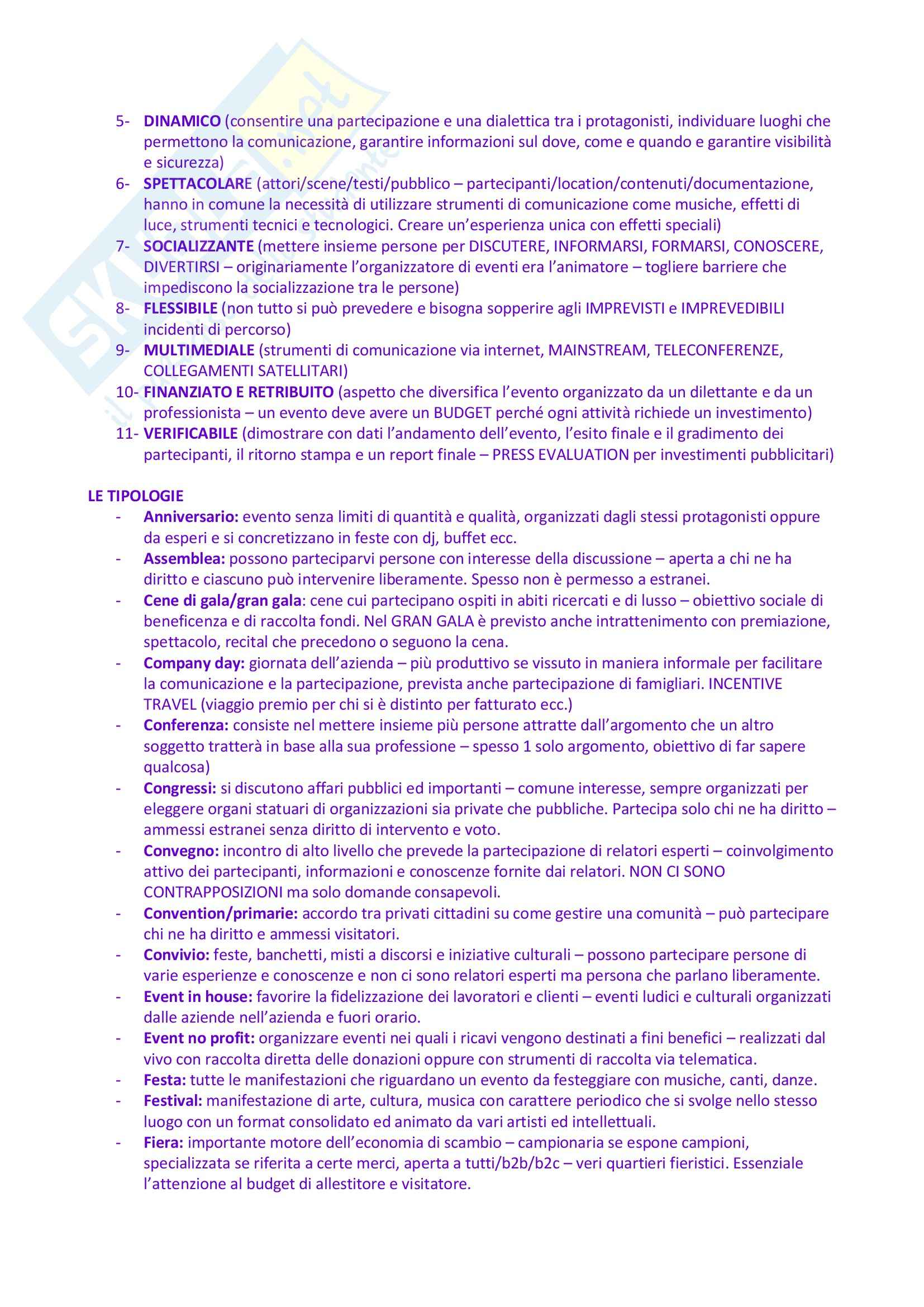 Riassunto esame Organizzazione e Gestione degli Eventi e dello Spettacolo, prof. Monno, libro consigliato Organizzare Eventi, Tavalazzi, Regina Pag. 2