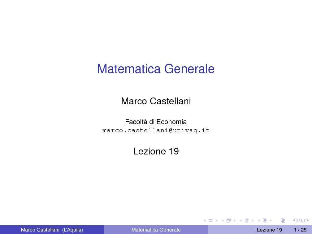 dispensa M. Castellani Matematica Generale