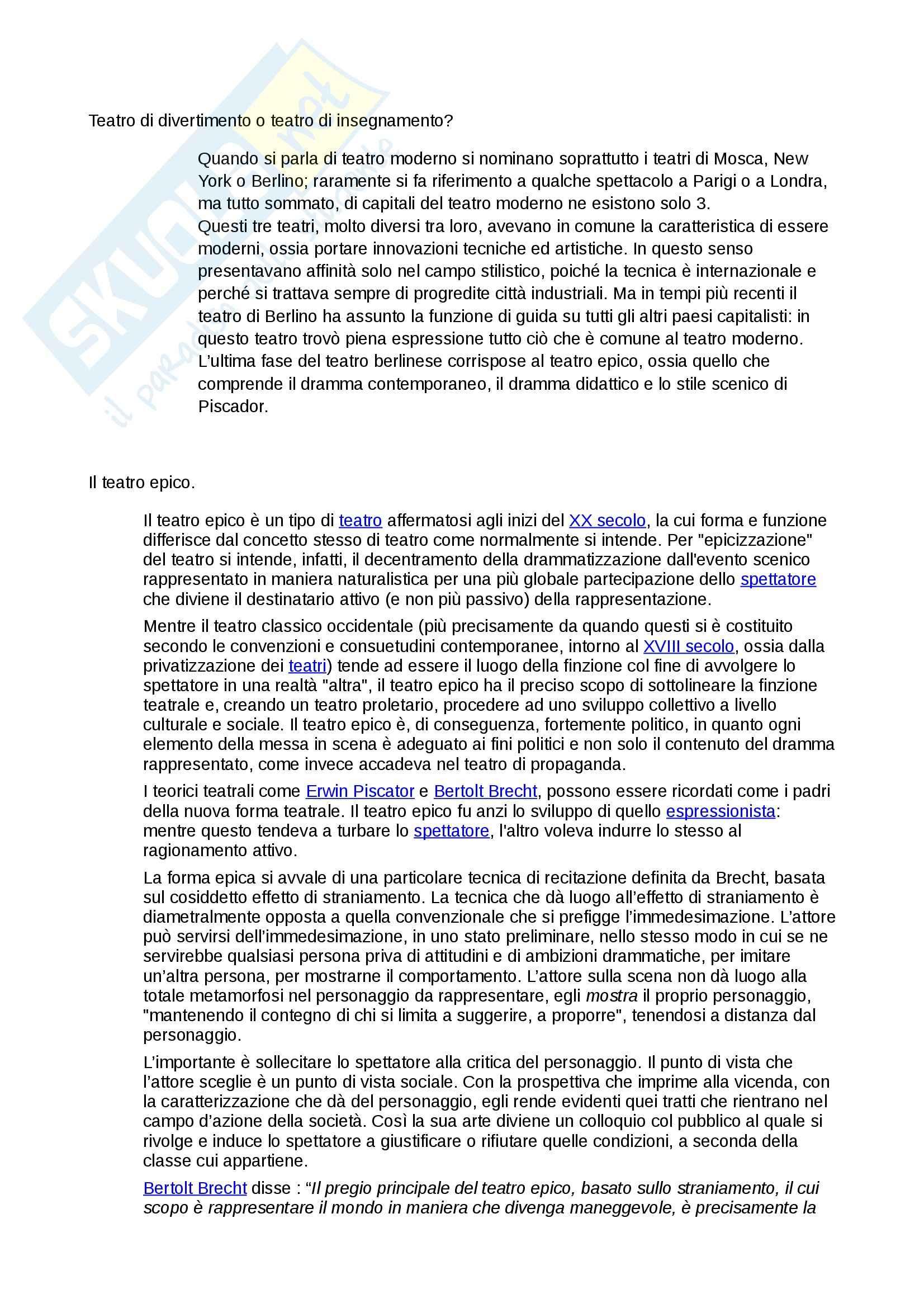 Riassunto esame Teatro, prof. Sapienza, libro consigliato Il Nuovo teatro, De Marinis