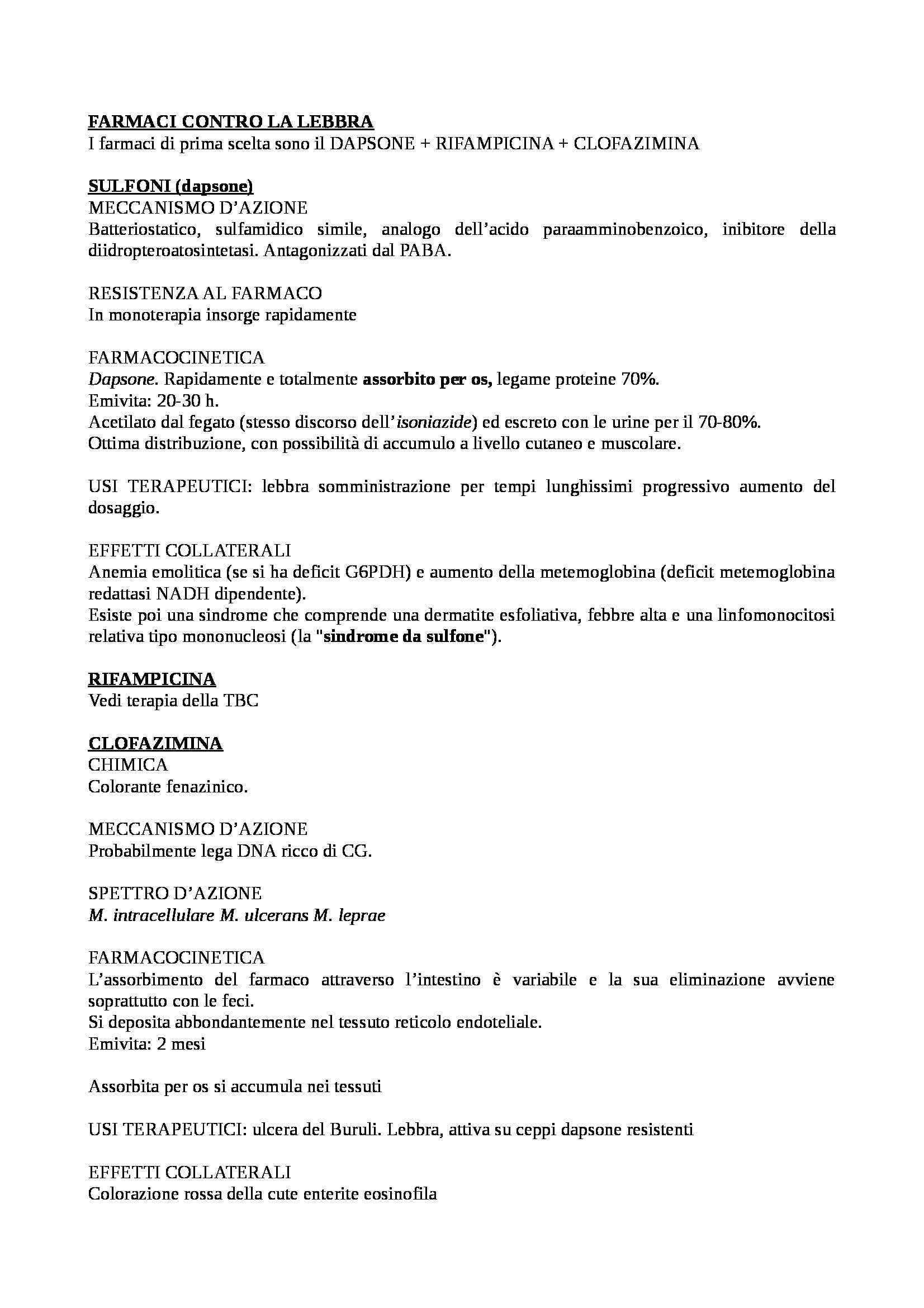Farmacologia e tossicologia - schema sui farmaci contro la lebbra