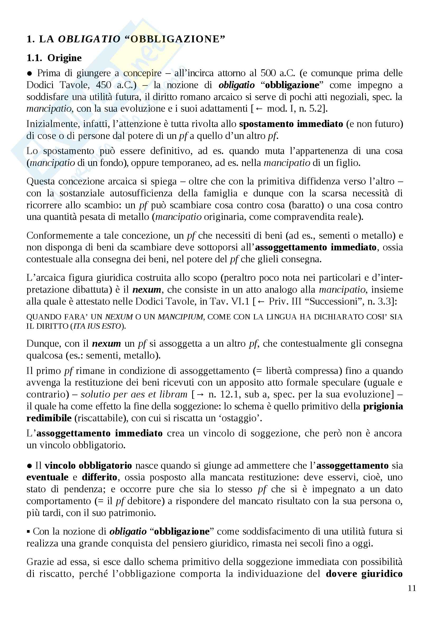 Istituzioni di diritto romano - obbligazioni