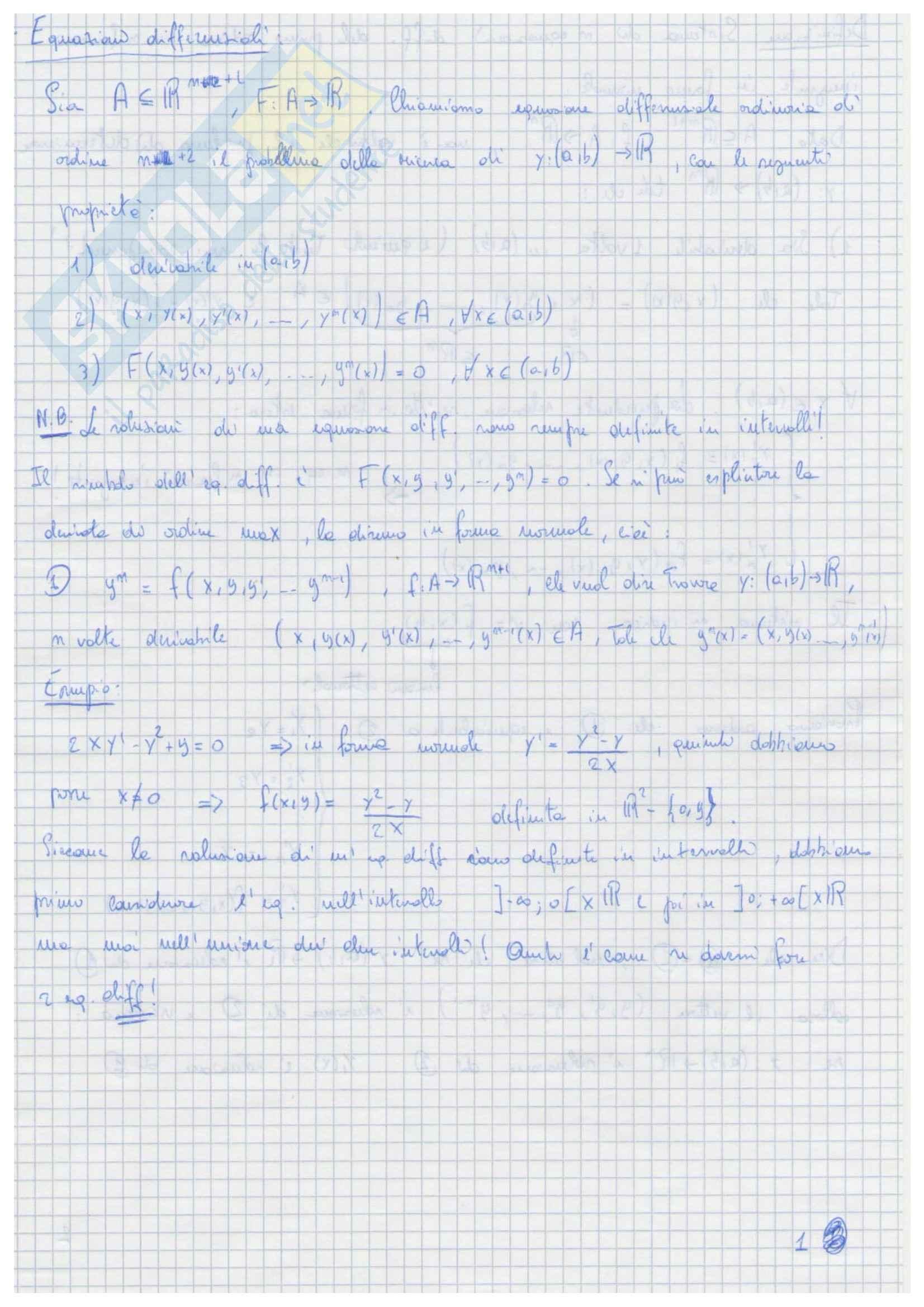 Riassunto esame Analisi Matematica 2, le equazioni differenziali, prof. Zamboni