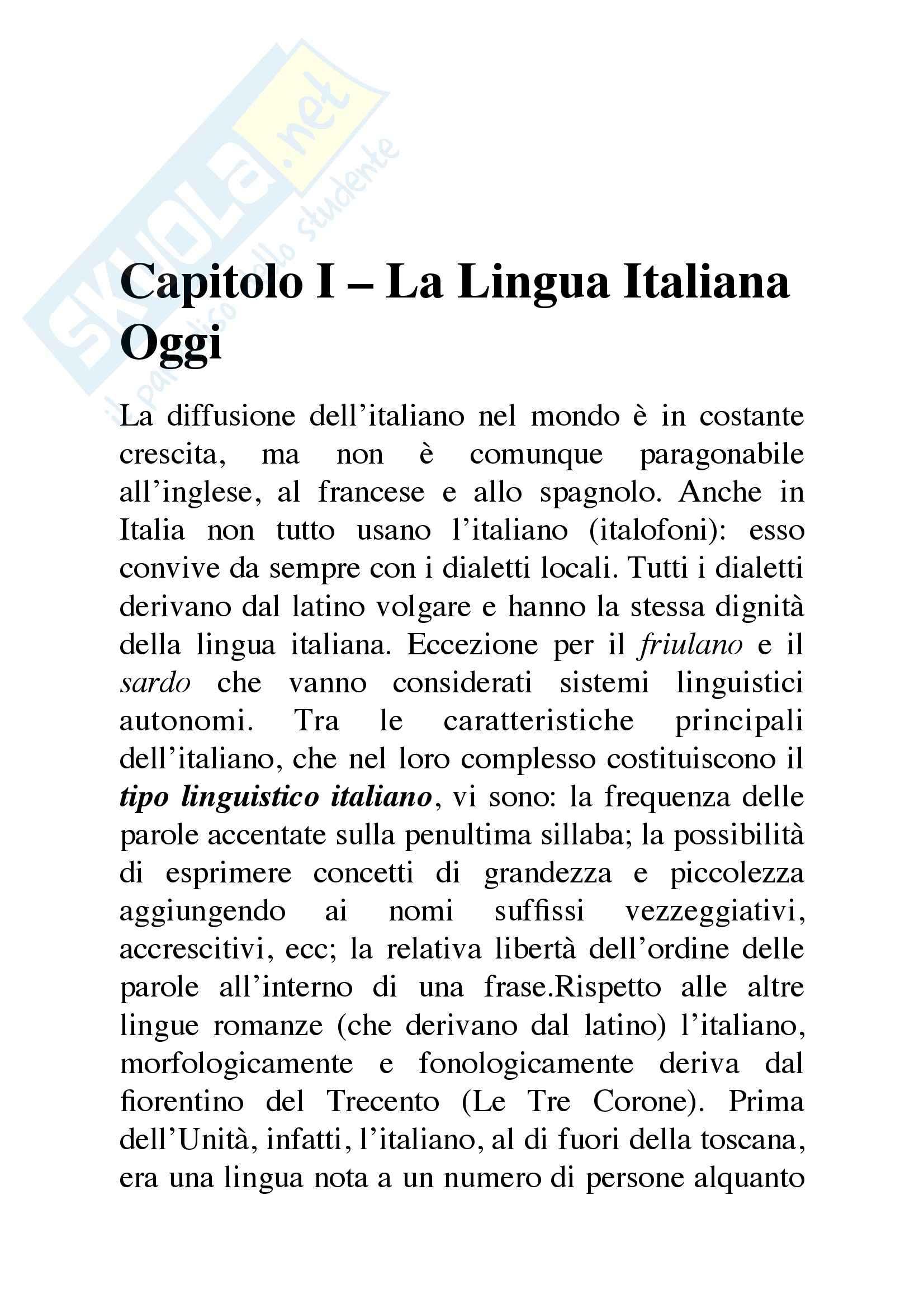 Riassunto esame Didattica della lingua italiana, prof. Fabrizio, libro consigliato L'italiano contemporaneo, D'Achille