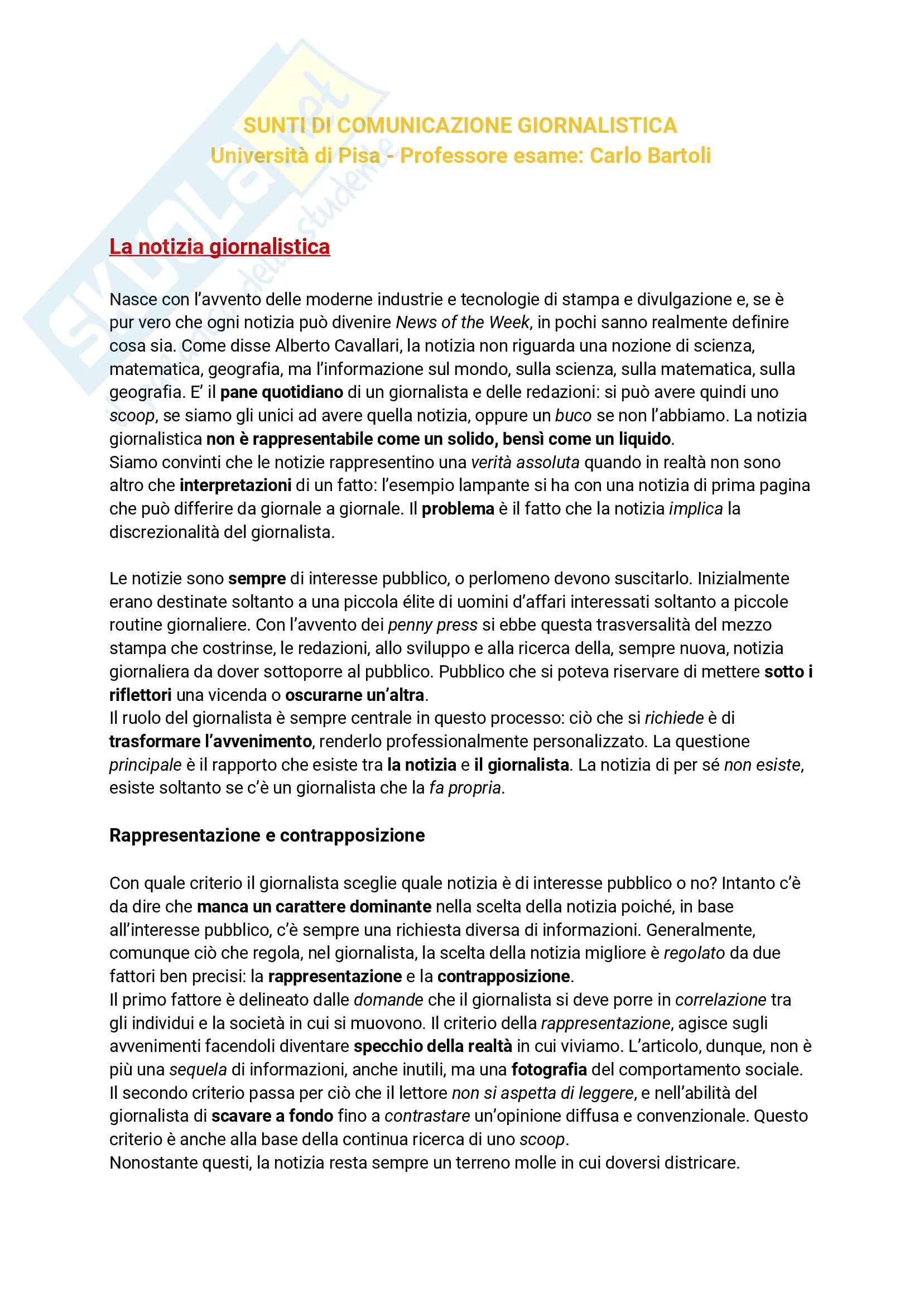Riassunto esame Comunicazione Giornalistica, prof. Alberto Valentini, libro consigliato Professione Giornalista, Papuzzi