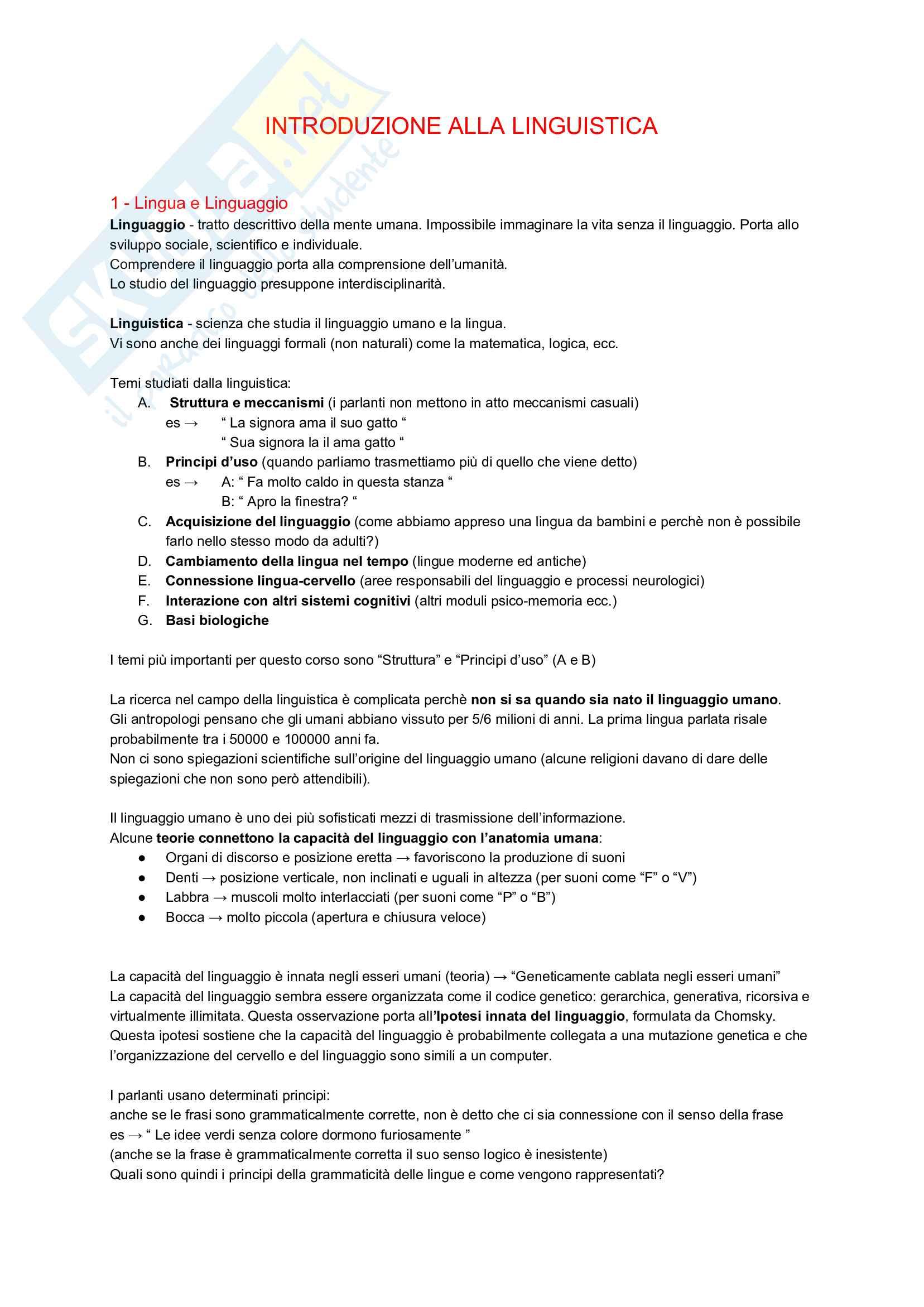 Appunti Riassuntivi - Introduzione alla Linguistica