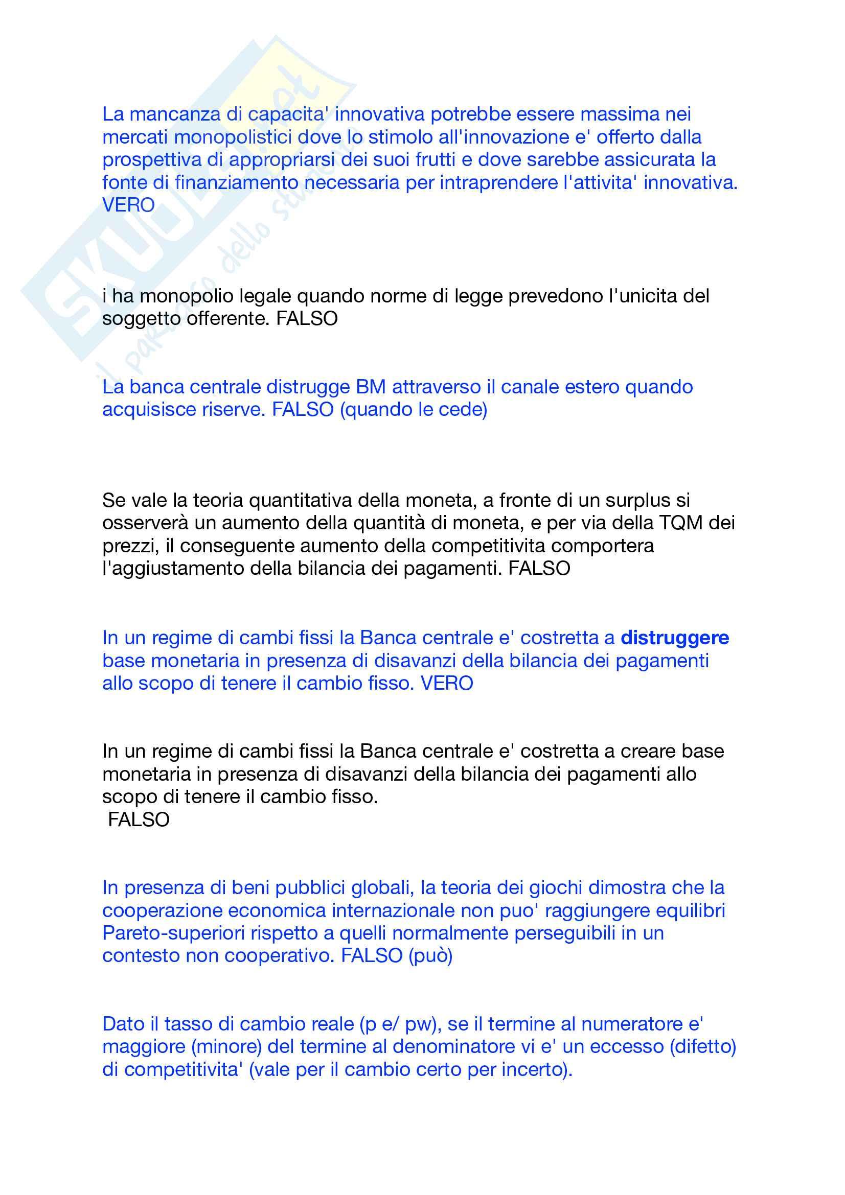 Domande a crocette e orali politica economica Di Bartolomeo Pag. 16