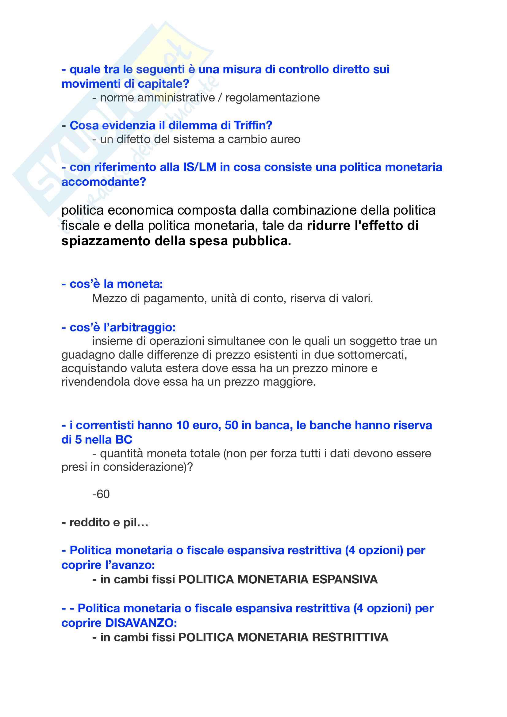 Domande a crocette e orali politica economica Di Bartolomeo Pag. 21