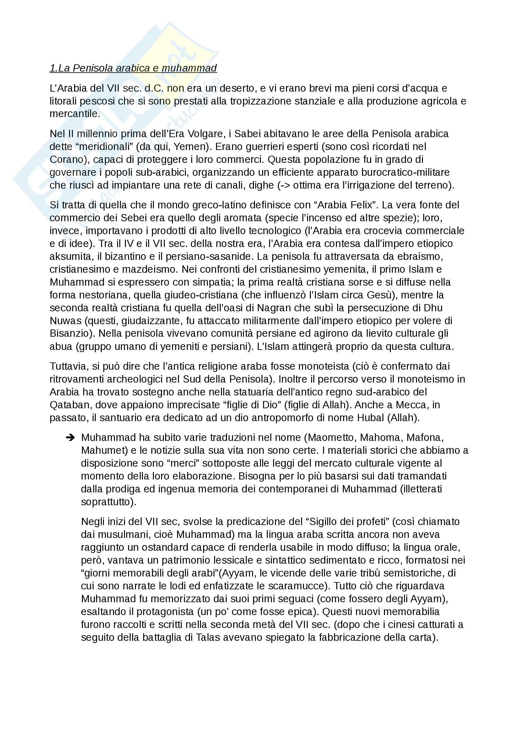 Riassunto esame di Islamistica, prof. Tottoli, libro consigliato dal docente Maometto, Lo Jacono