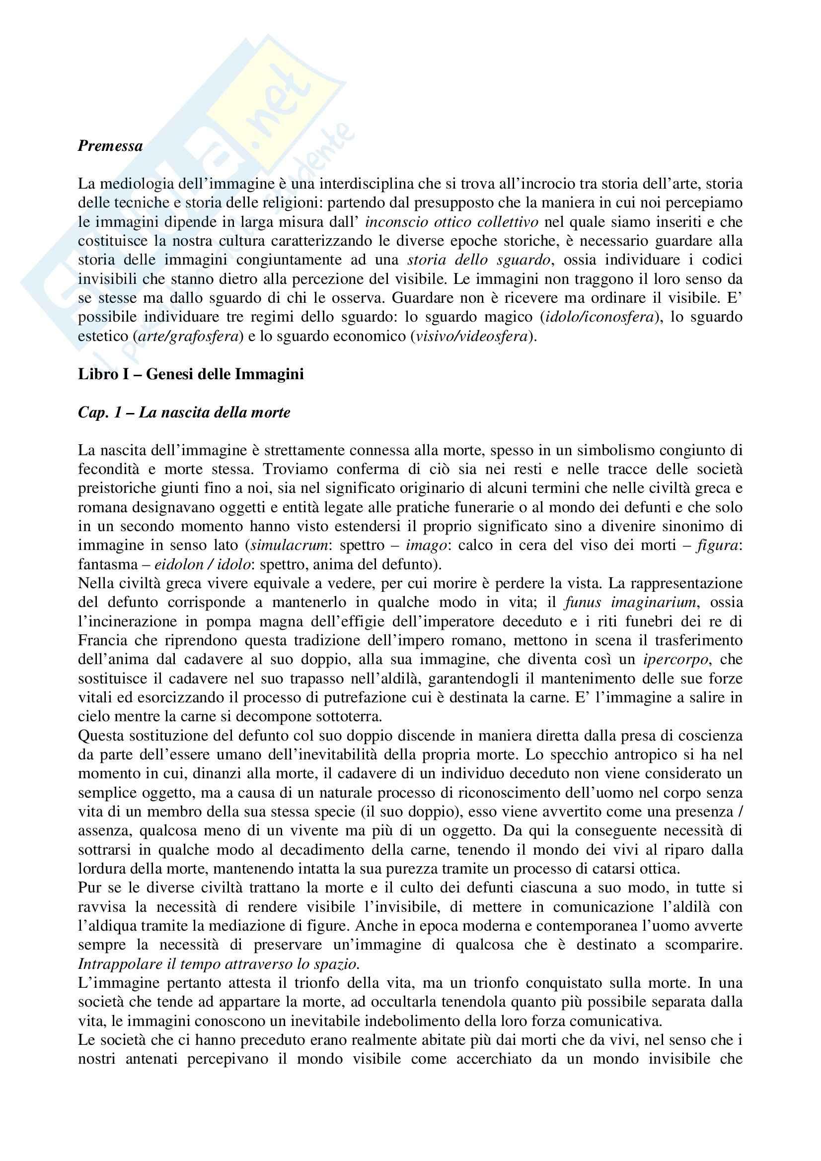Riassunto esame Estetica, prof. Pinotti, libro consigliato Vita e Morte dell'Immagine, Debray