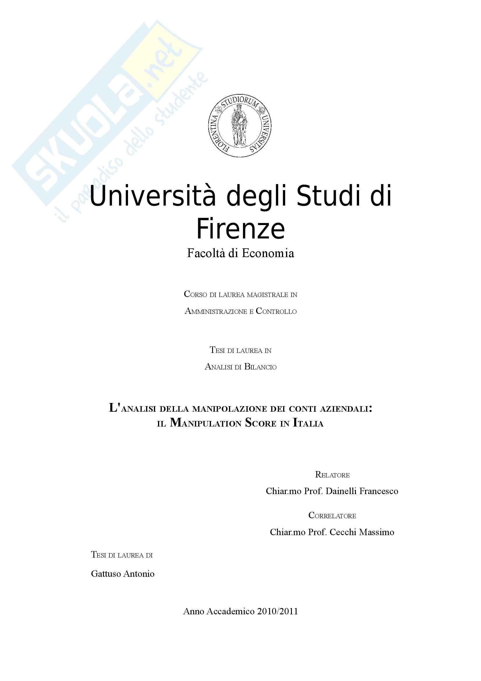 Tesi - L'analisi della manipolazione dei conti aziendali: il Manipulation Score in Italia