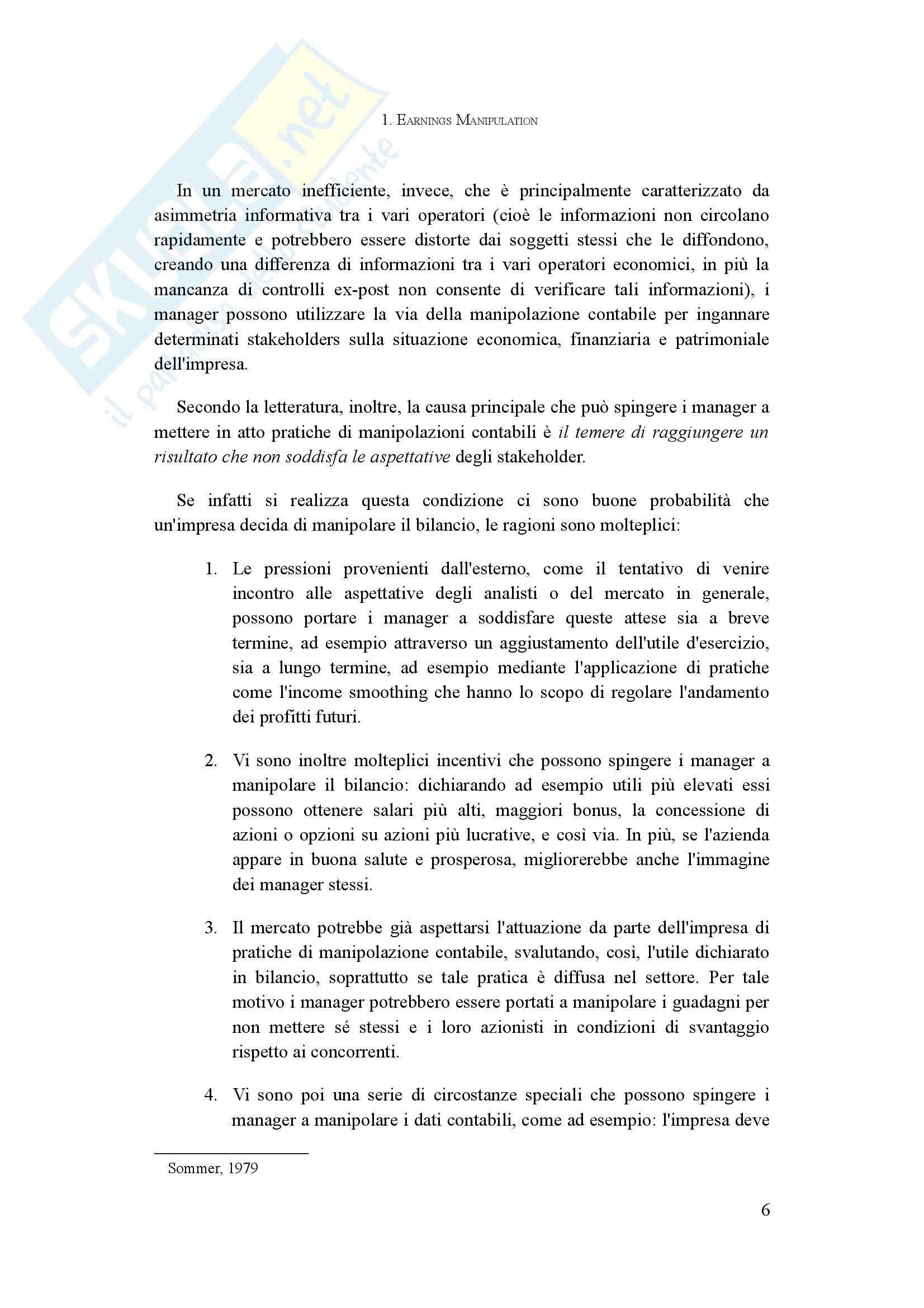 Tesi - L'analisi della manipolazione dei conti aziendali: il Manipulation Score in Italia Pag. 6