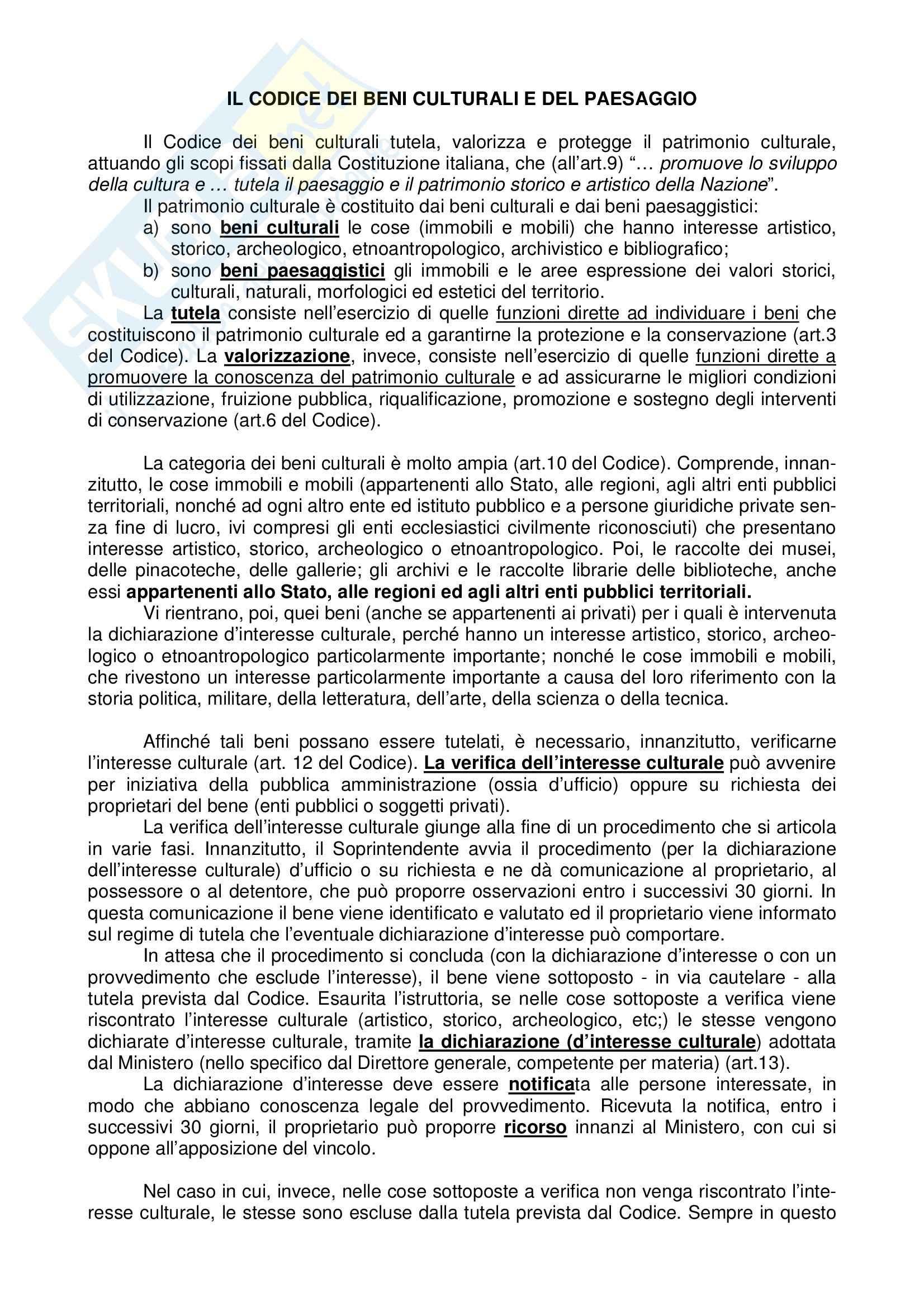 Legislazione dei beni culturali - Codice dei beni culturali