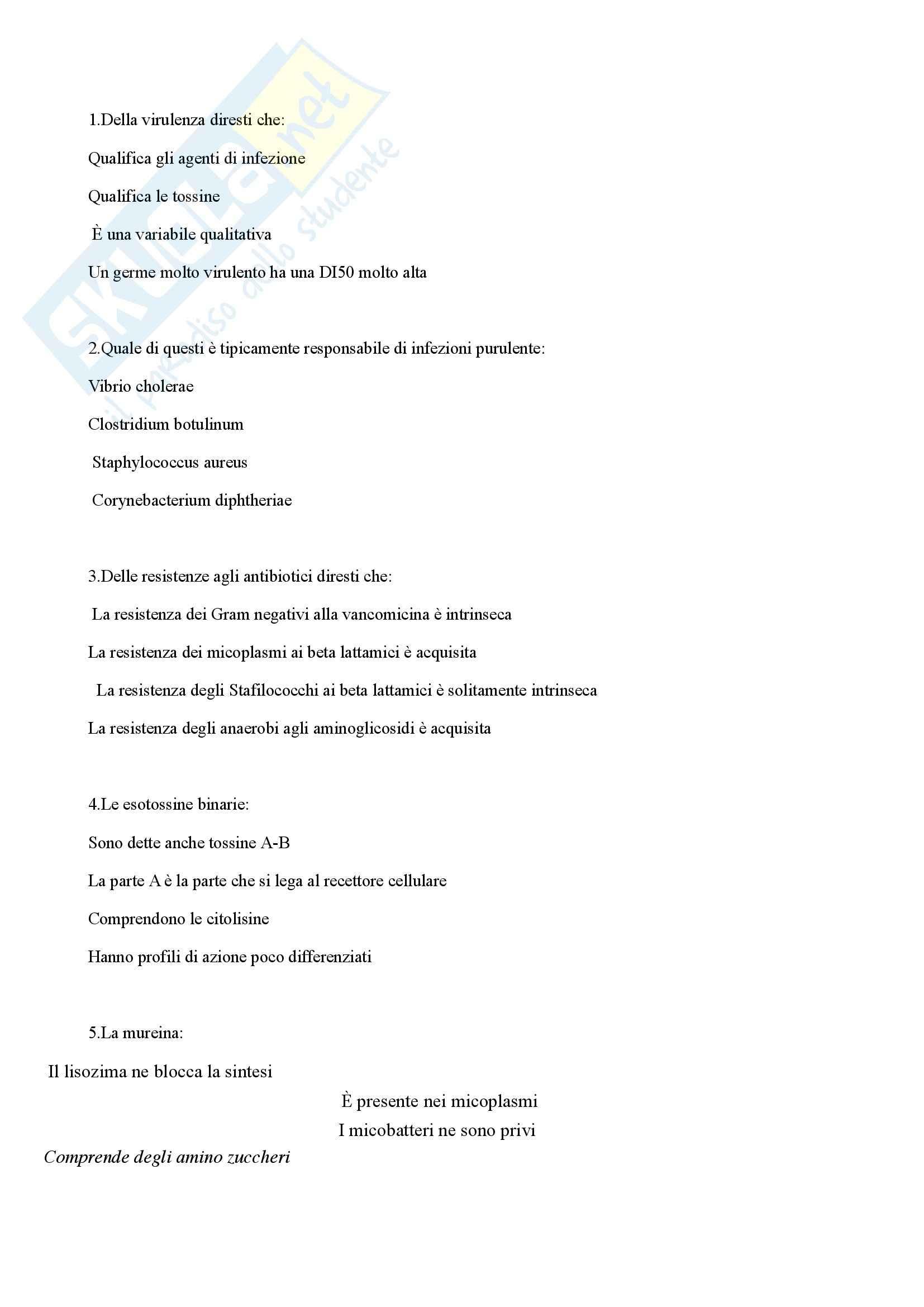 Microbiologia - domande generiche