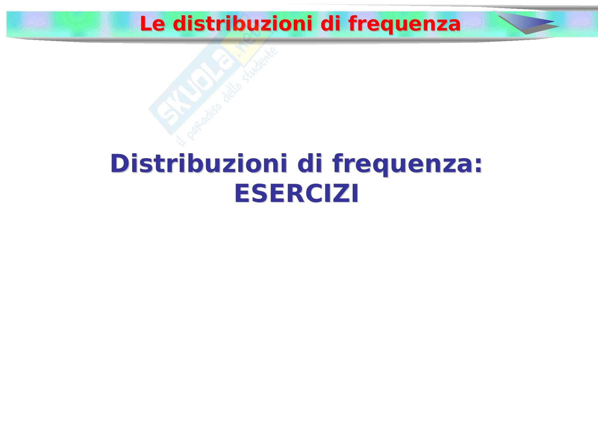 Esercizi distribuzioni di frequenza con soluzioni