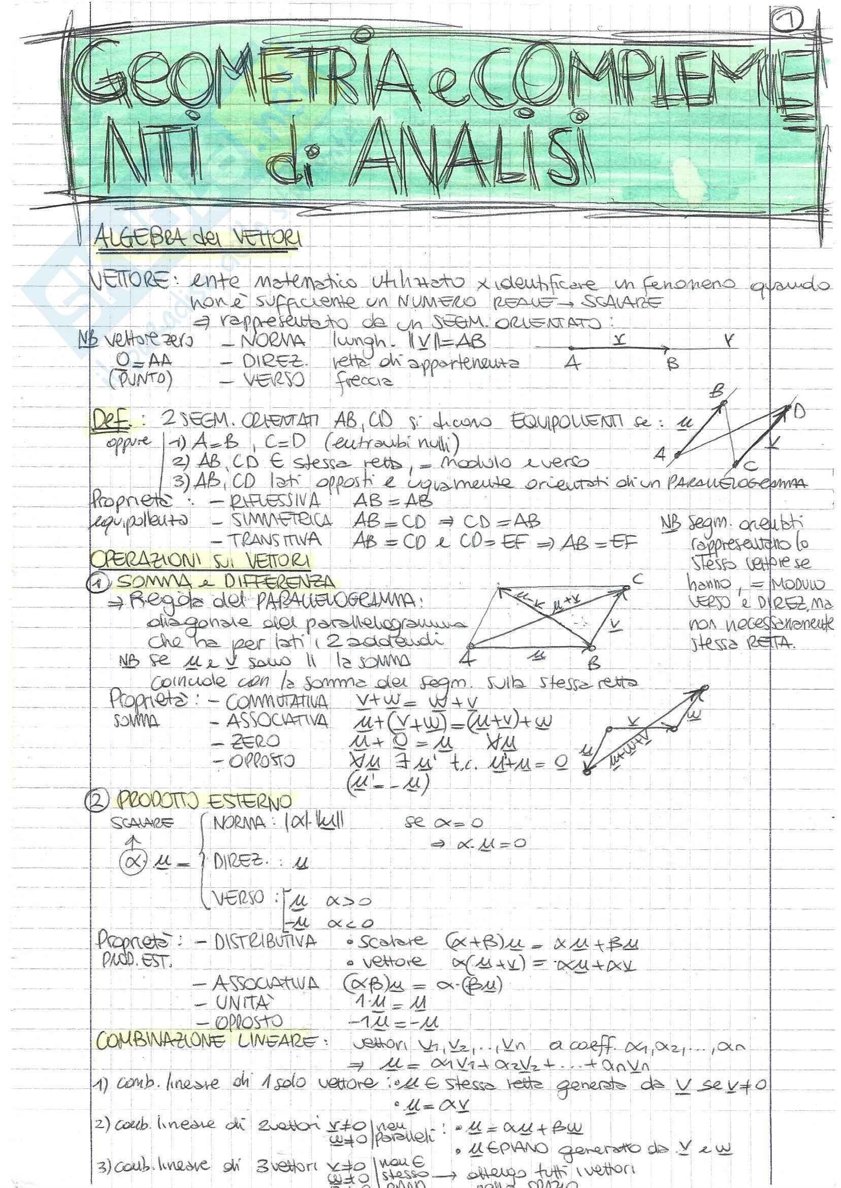 Analisi Matematica 2 e Complementi di Algebra Lineare - Teoria A