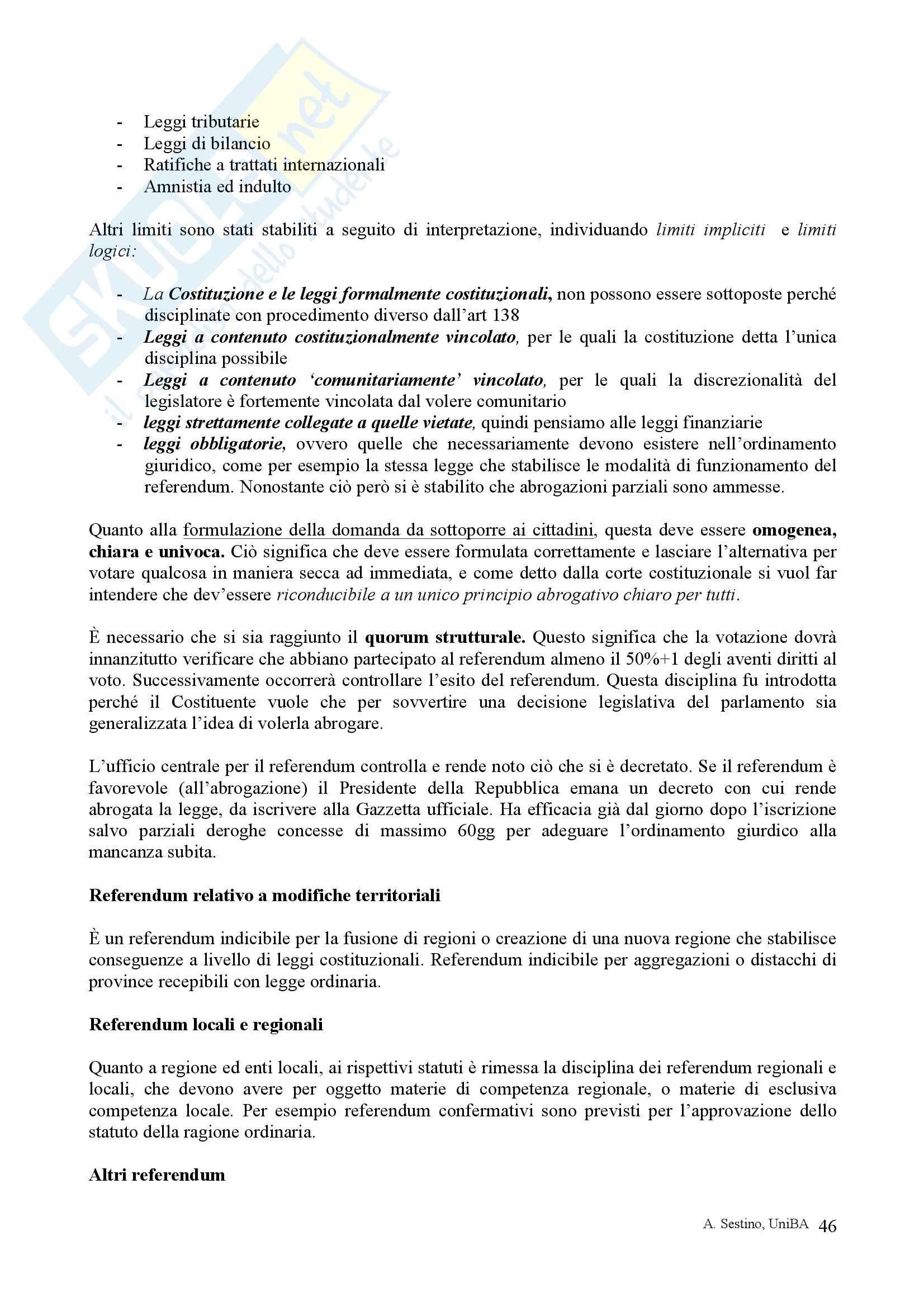 Riassunto esame Diritto pubblico, prof. Teotonico, libro consigliato Corso di diritto pubblico, Barbera, Fusaro Pag. 46