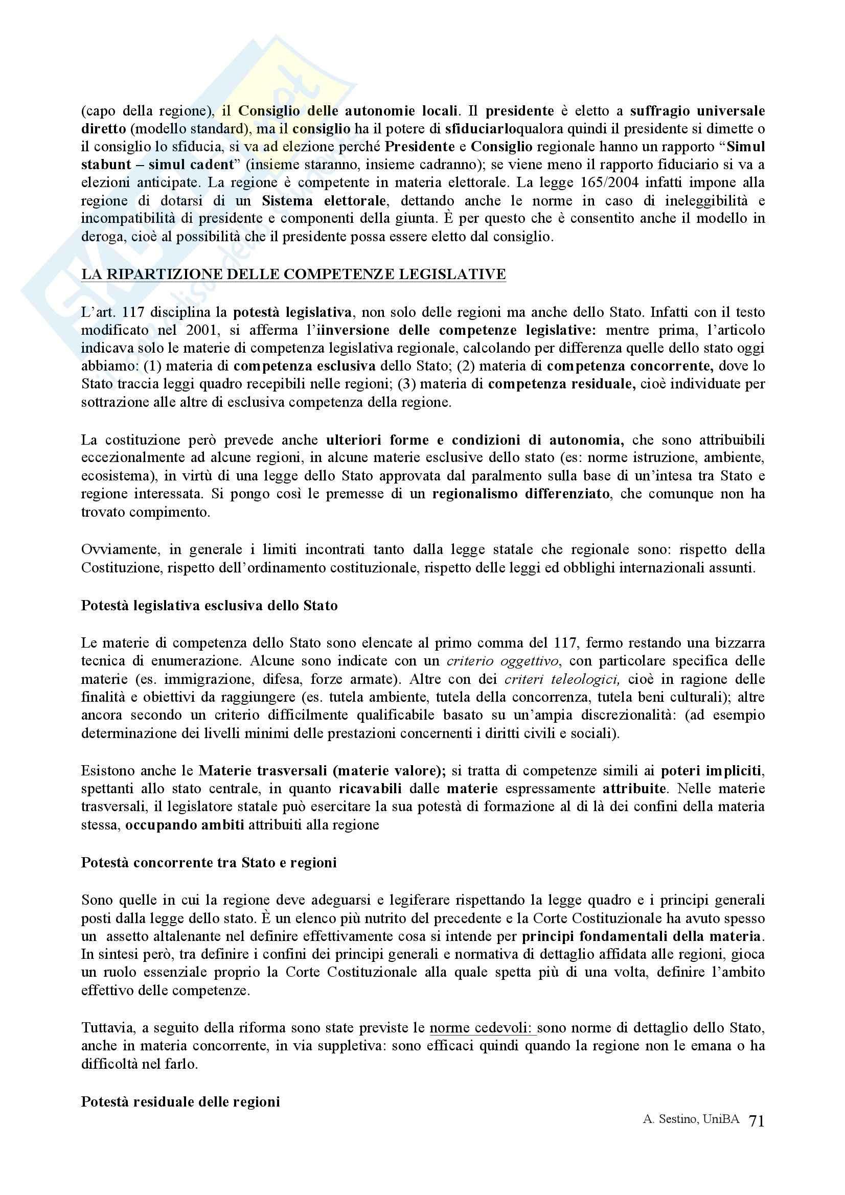 Riassunto esame Diritto pubblico, prof. Teotonico, libro consigliato Corso di diritto pubblico, Barbera, Fusaro Pag. 71