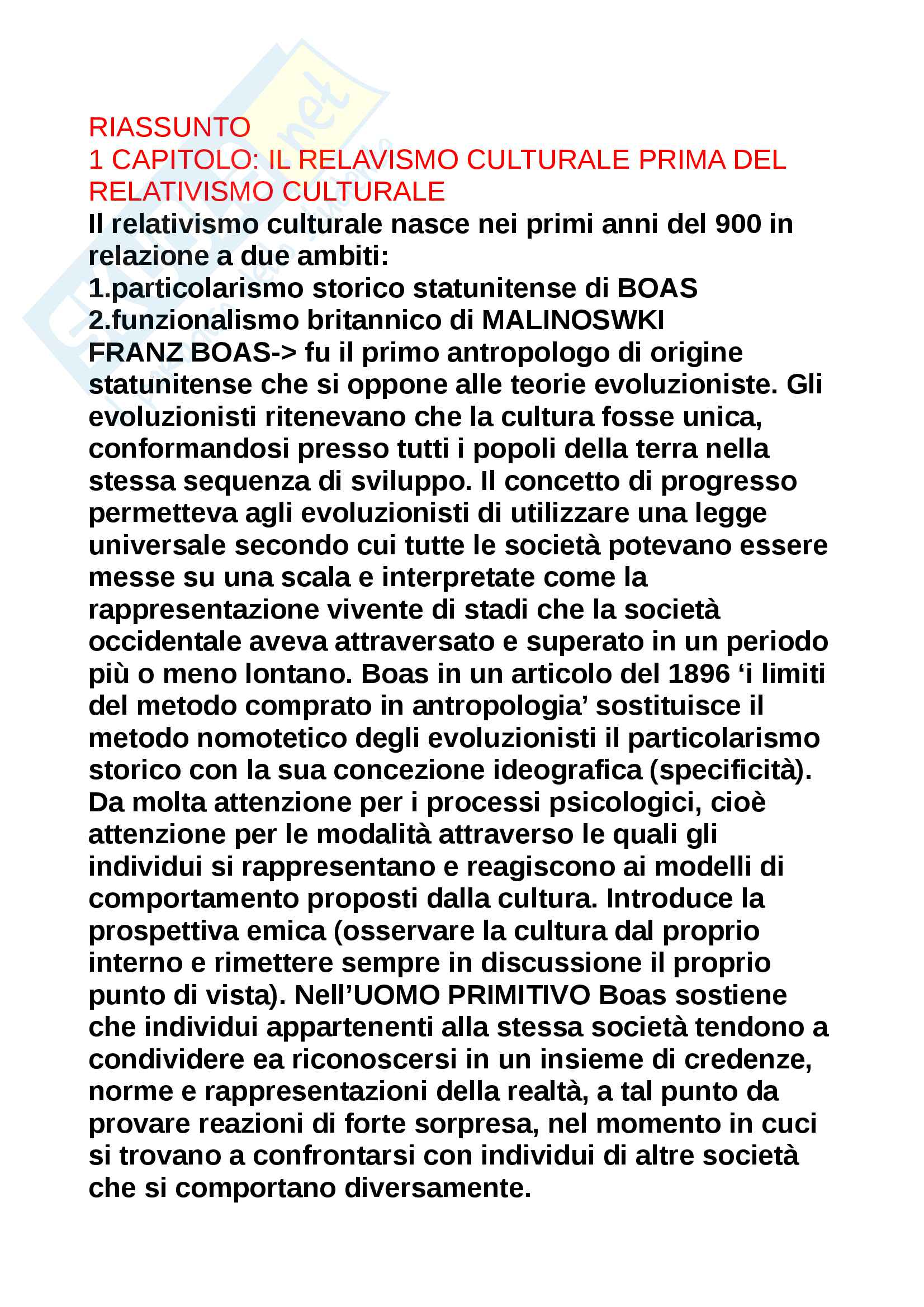 Riassunto esame Antropologia culturale, prof Biscaldi, testo consigliato Relativismo culturale, autore Biscaldi