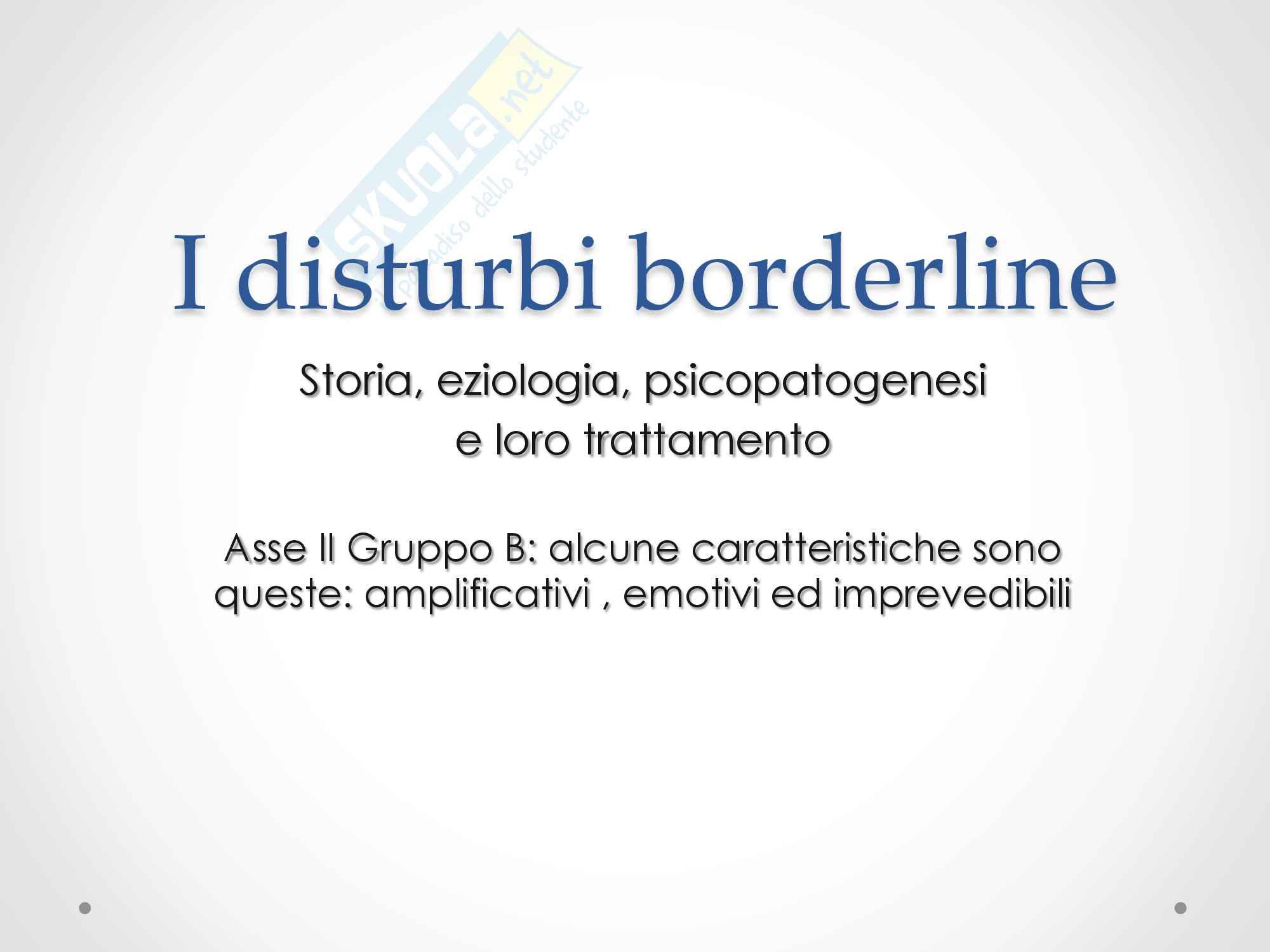 I disturbi borderline