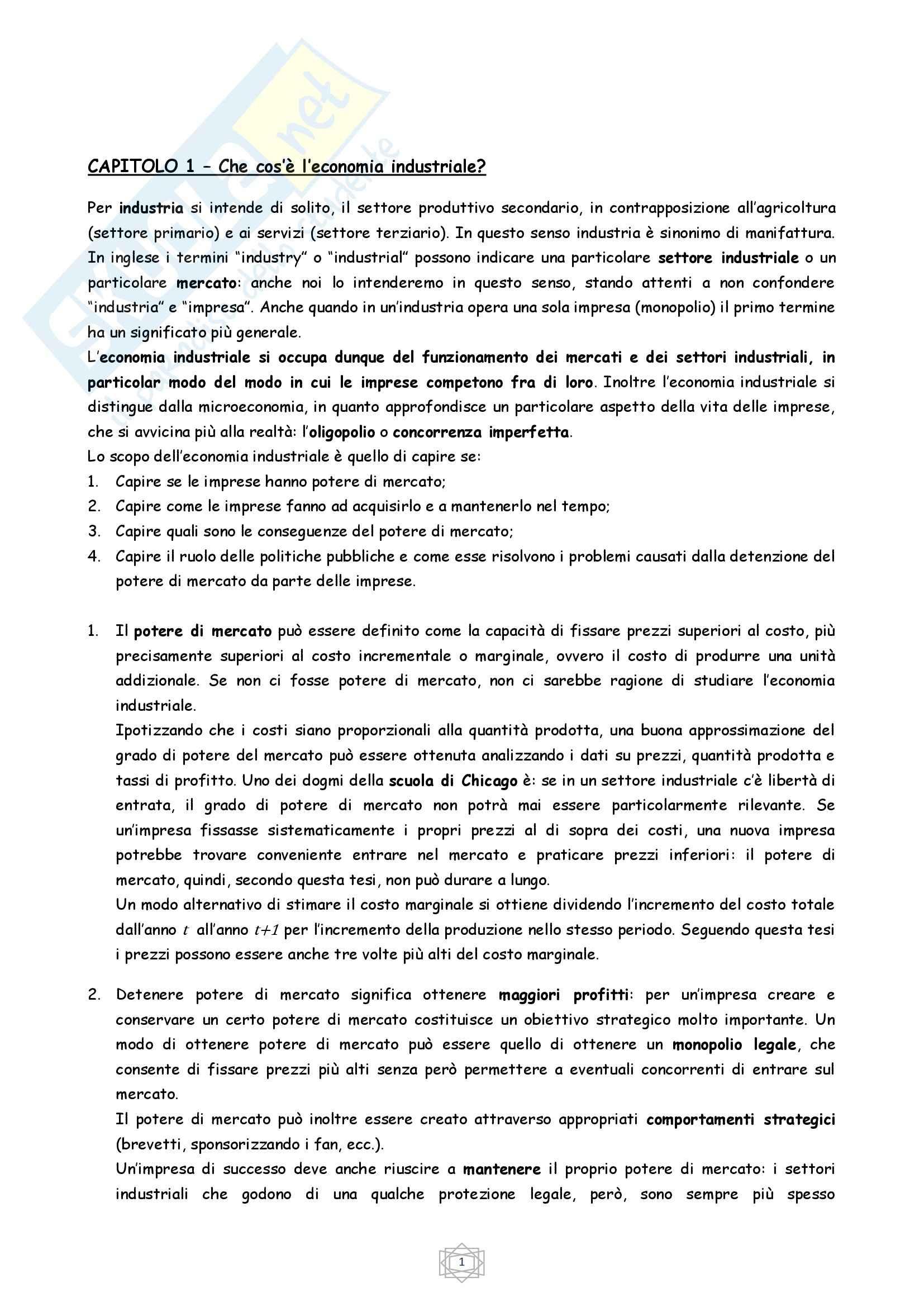 Riassunto esame Economia Industriale, prof. Atzeni, libro consigliato Economia Industriale, Cabral (parte 1)