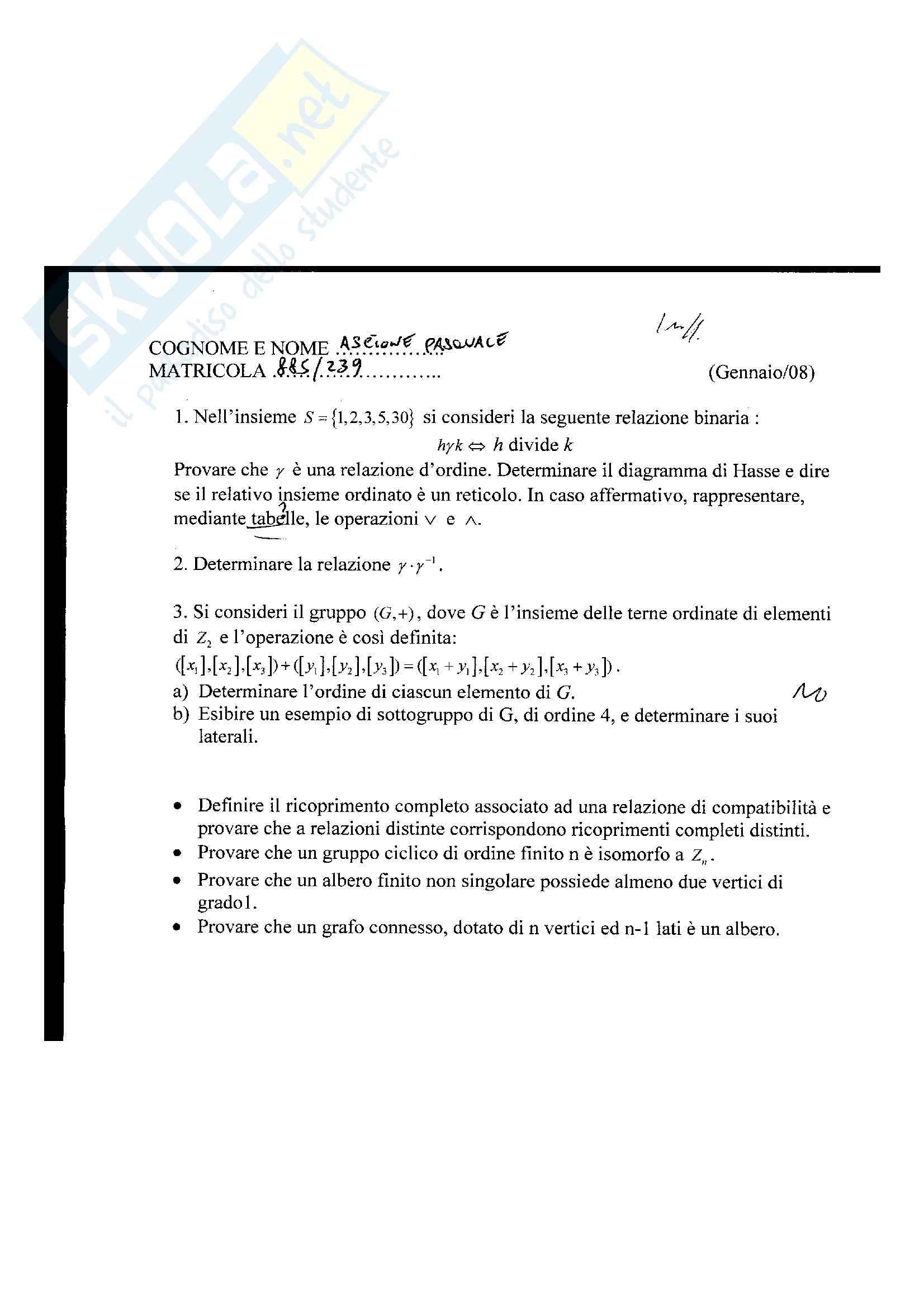 Strutture geometriche e algebriche - esercizi