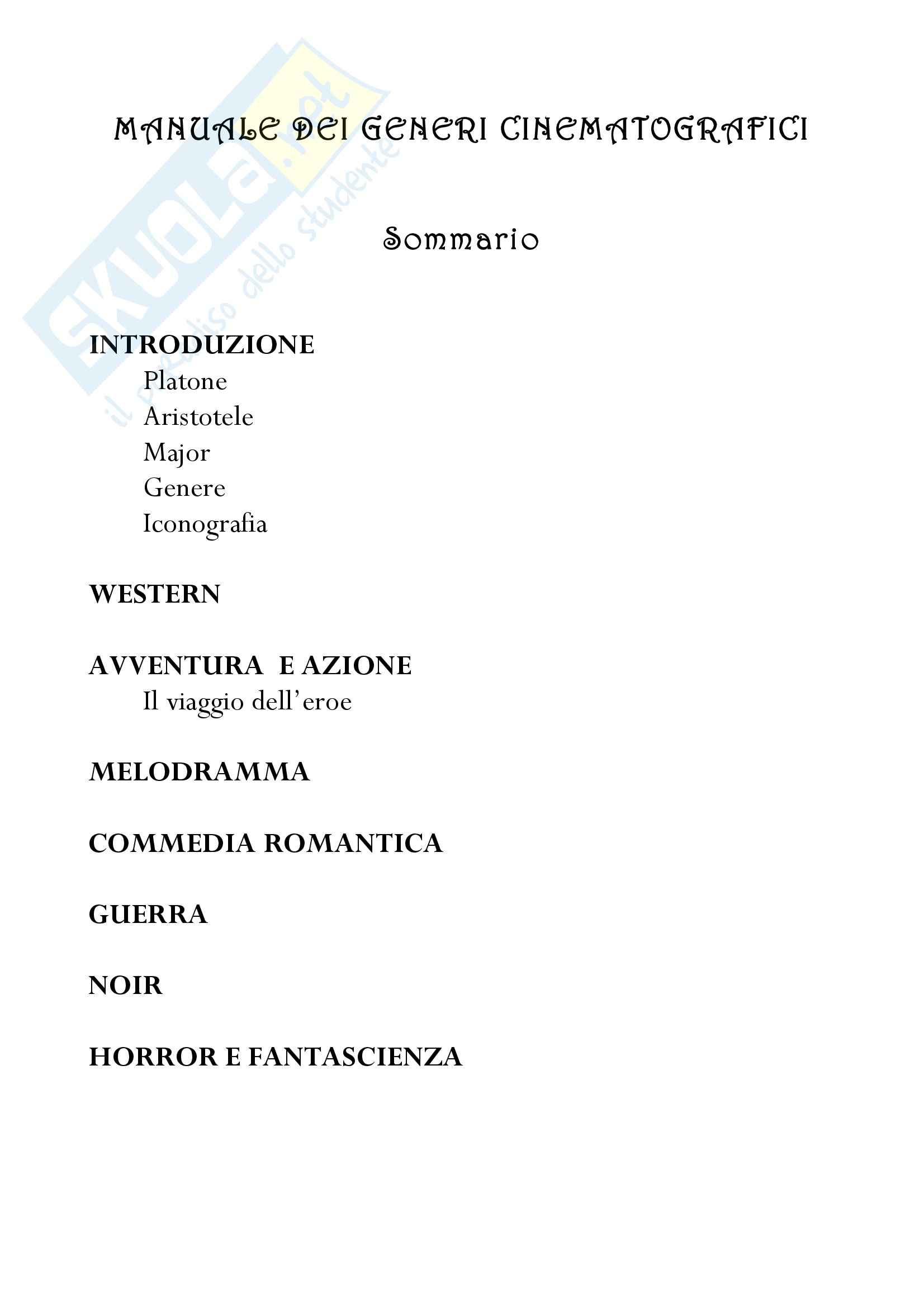 semiologia del cinema - manuale dei generi cinematografici
