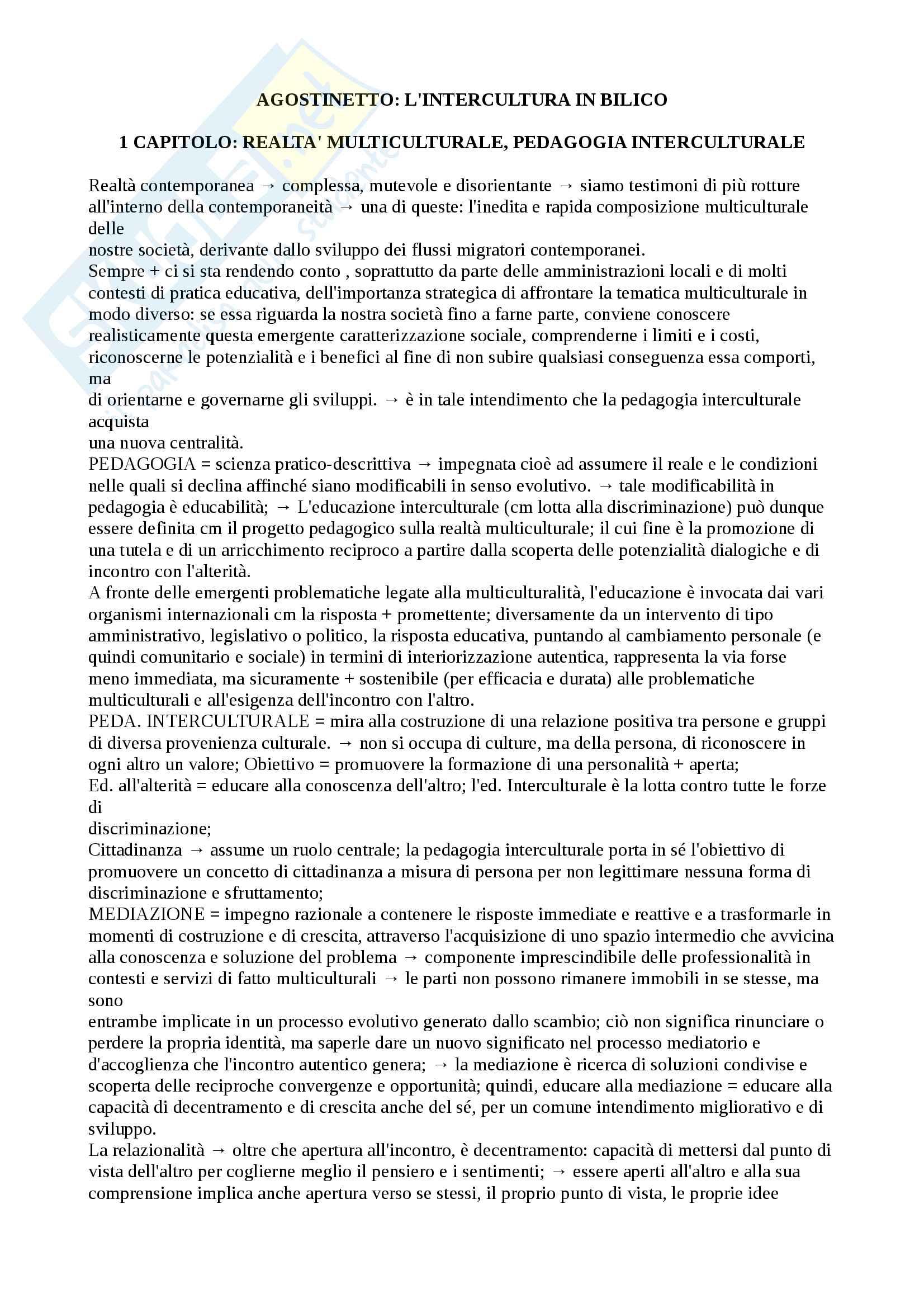 """Riassunto esame pedagogia interculturale, prof. Agostinetto, libro consigliato """"l'intercultura in bilico"""", Agostinetto"""