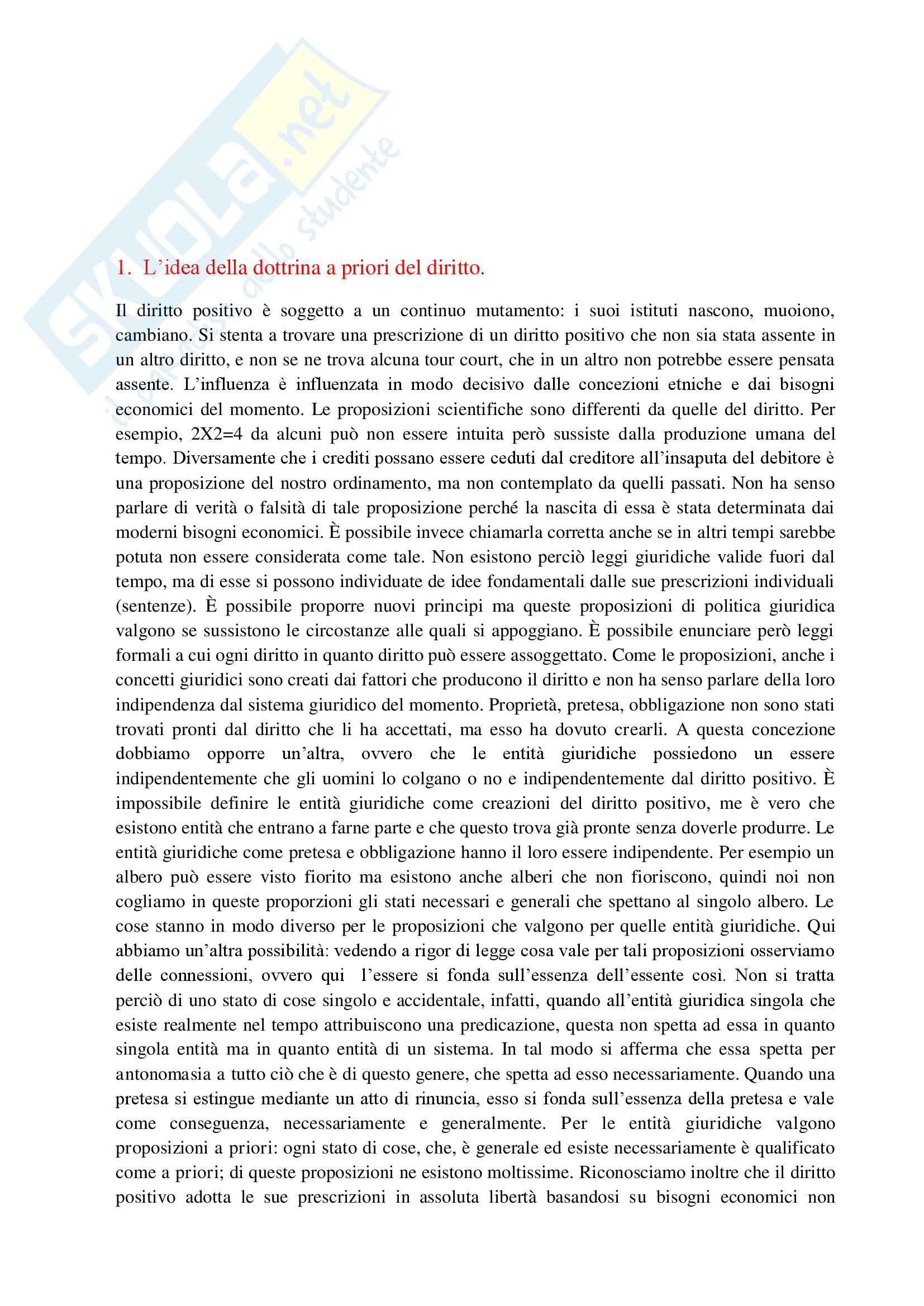 Riassunto esame Filosofia del diritto, prof. Lorini, libro consigliato I fondamenti a priori del diritto civile, Reinach