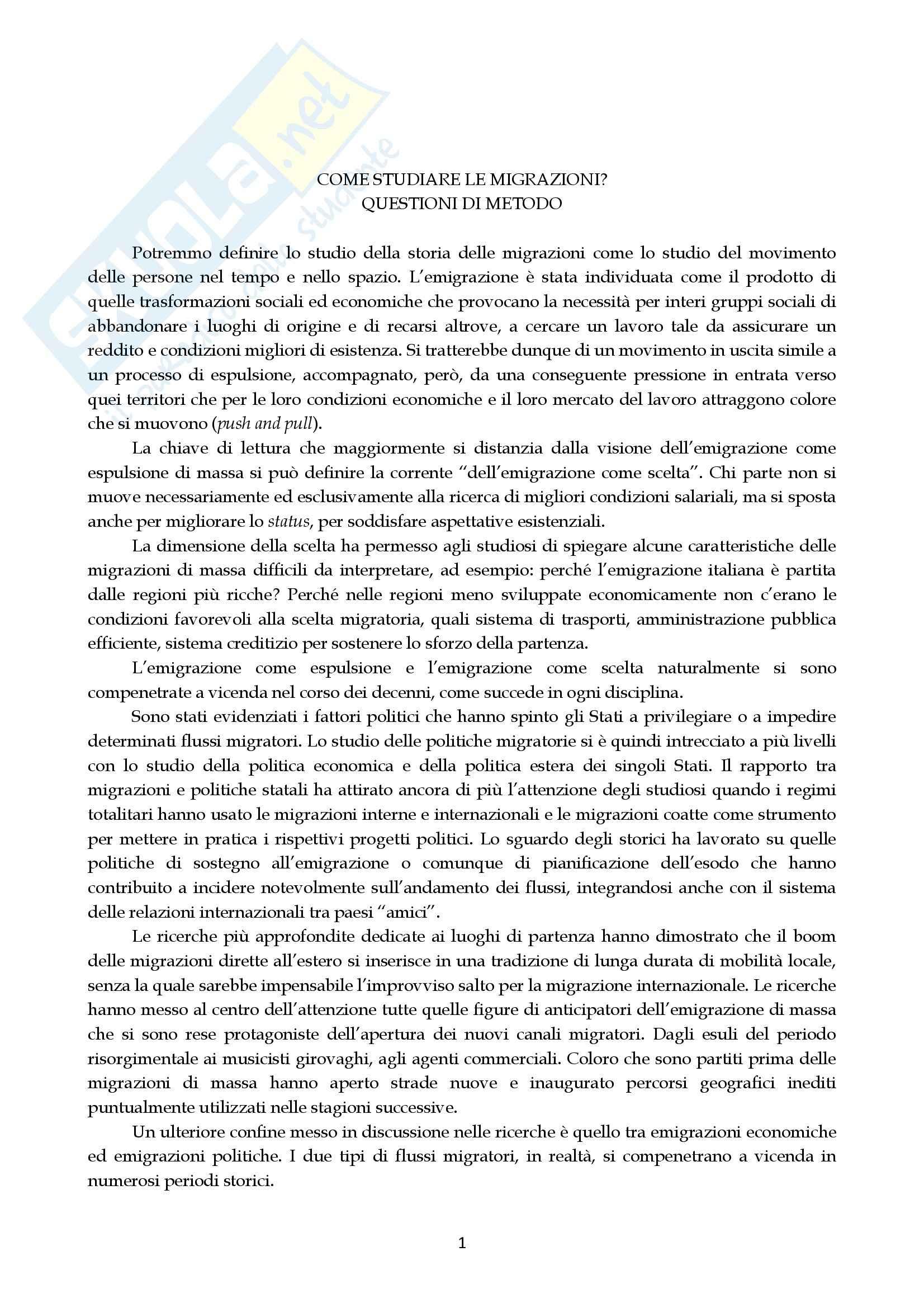 Riassunto esame Storia contemporanea, prof. Salvetti, libro consigliato Le migrazioni, Colucci, Sanfilippo