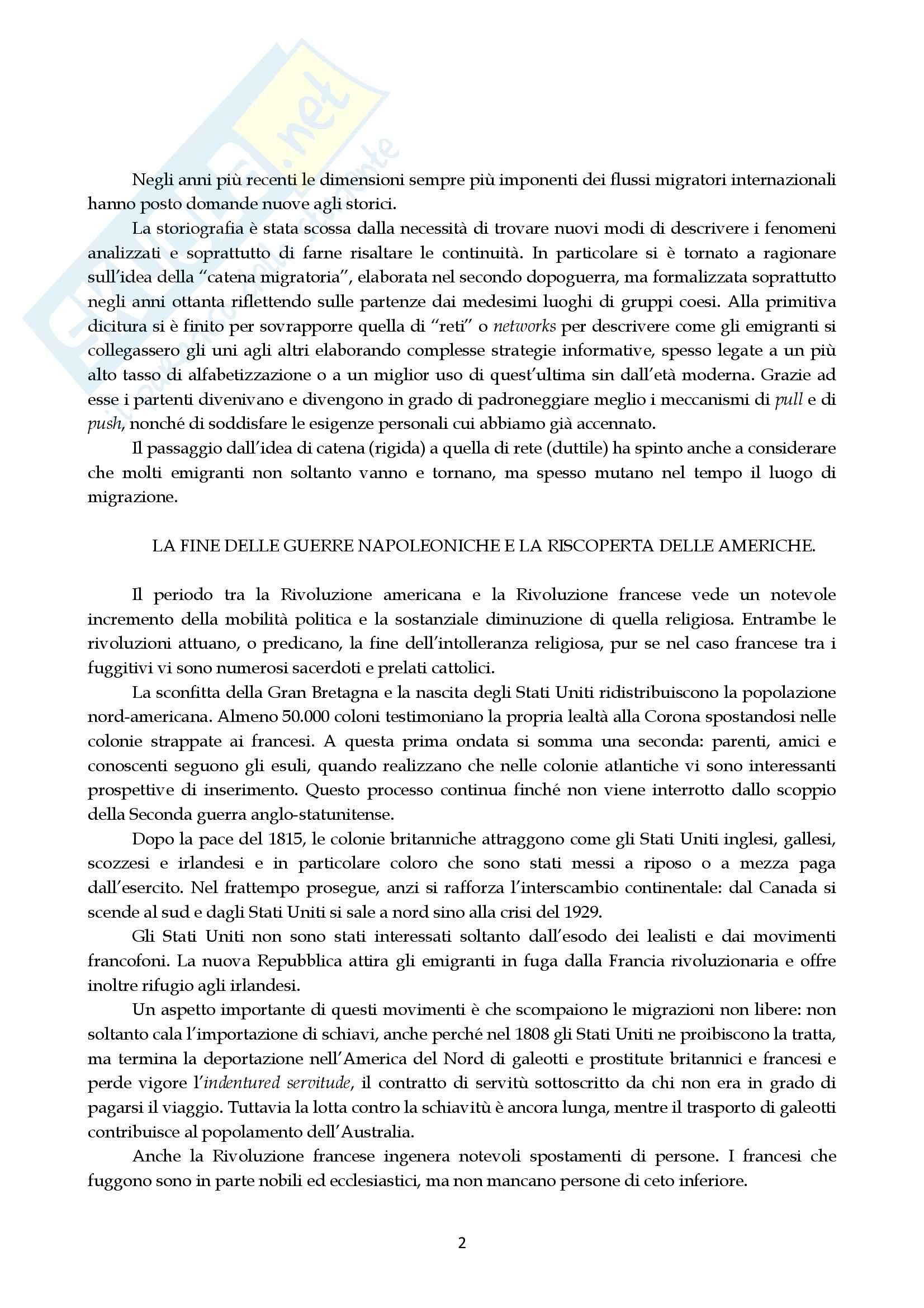 Riassunto esame Storia contemporanea, prof. Salvetti, libro consigliato Le migrazioni, Colucci, Sanfilippo Pag. 2