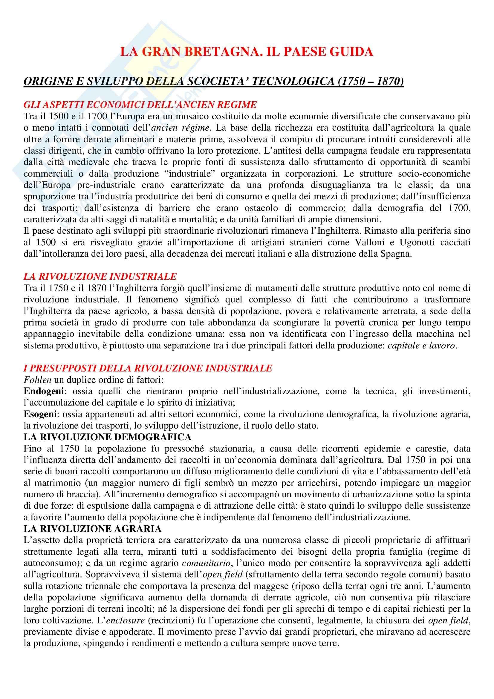 Storia economica - Riassunto esame, prof. ventura