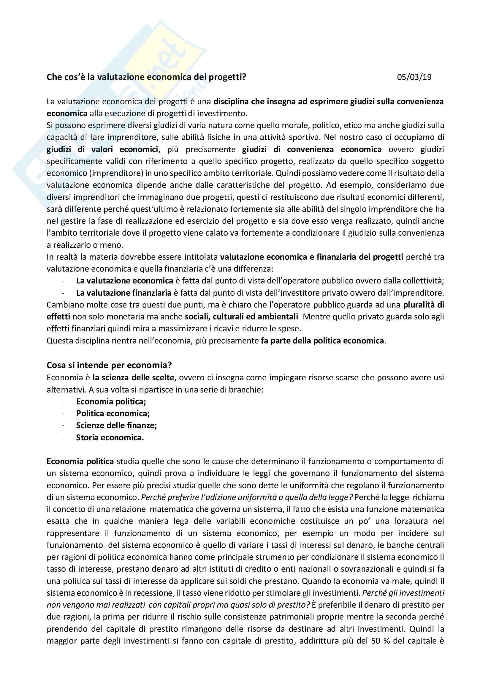 Appunti valutazione economica dei progetti