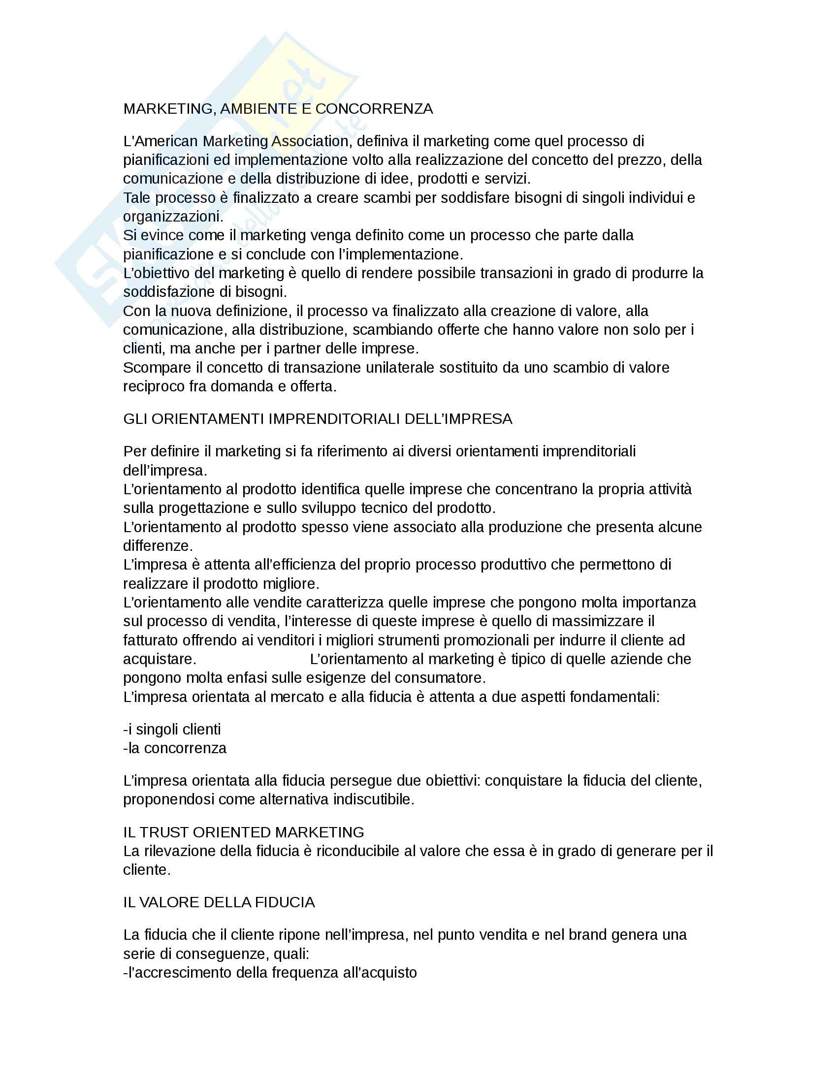 Riassunto esame Marketing, prof. D'Amico, libro consigliato Marketing e fiducia, Castaldo