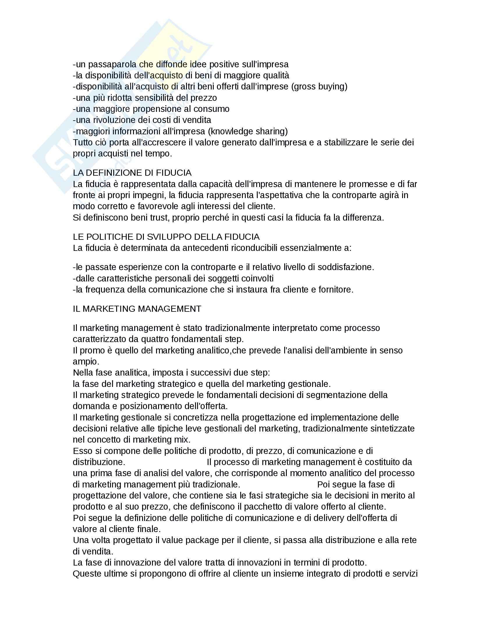 Riassunto esame Marketing, prof. D'Amico, libro consigliato Marketing e fiducia, Castaldo Pag. 2