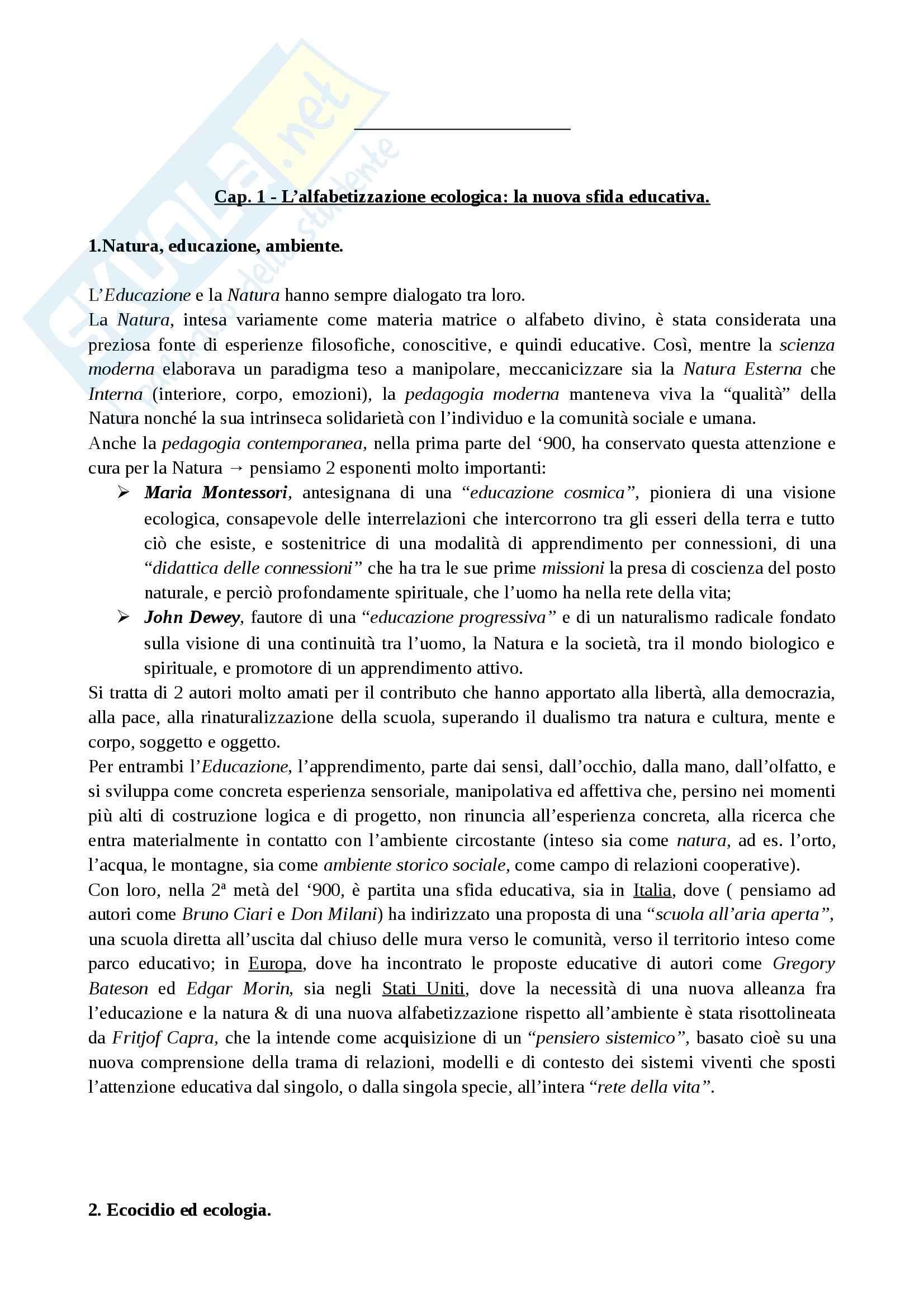 Riassunto esame Didattica Generale, prof. Marchetti, libro consigliato Alfabeti Ecologici