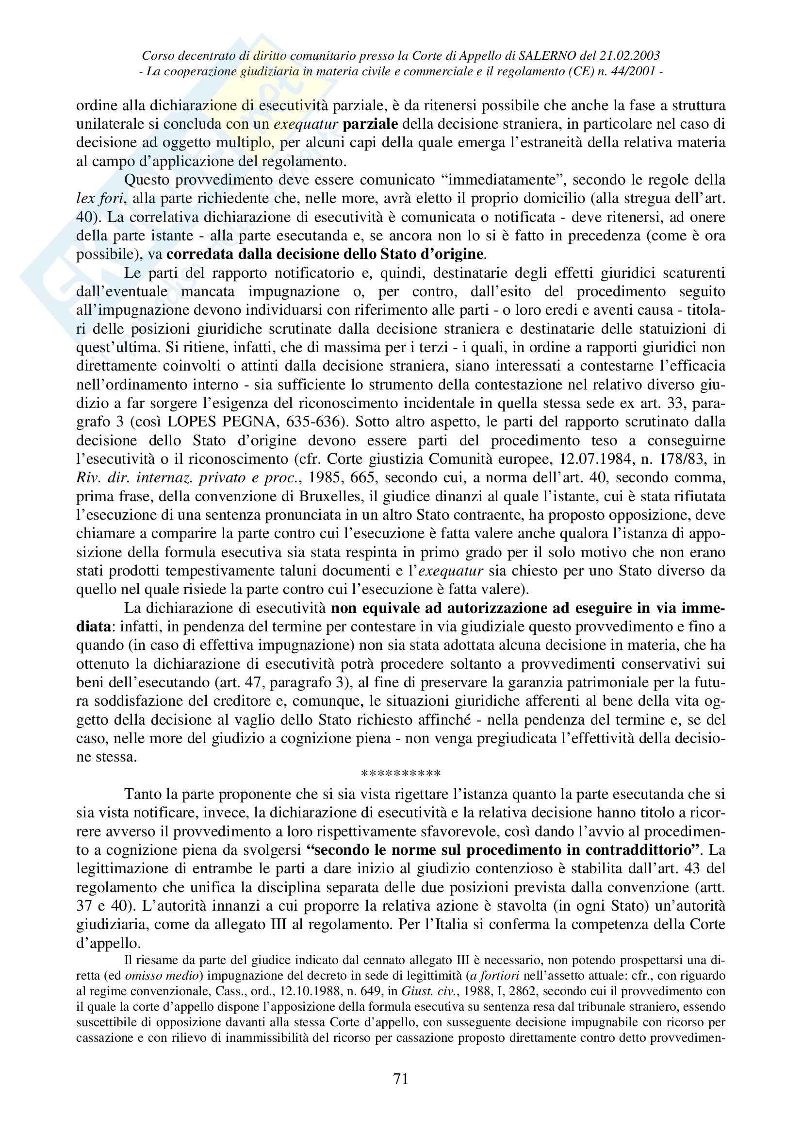 Diritto dell'Unione Europea - analisi del regolamento (CE) n. 44/2001 Pag. 71