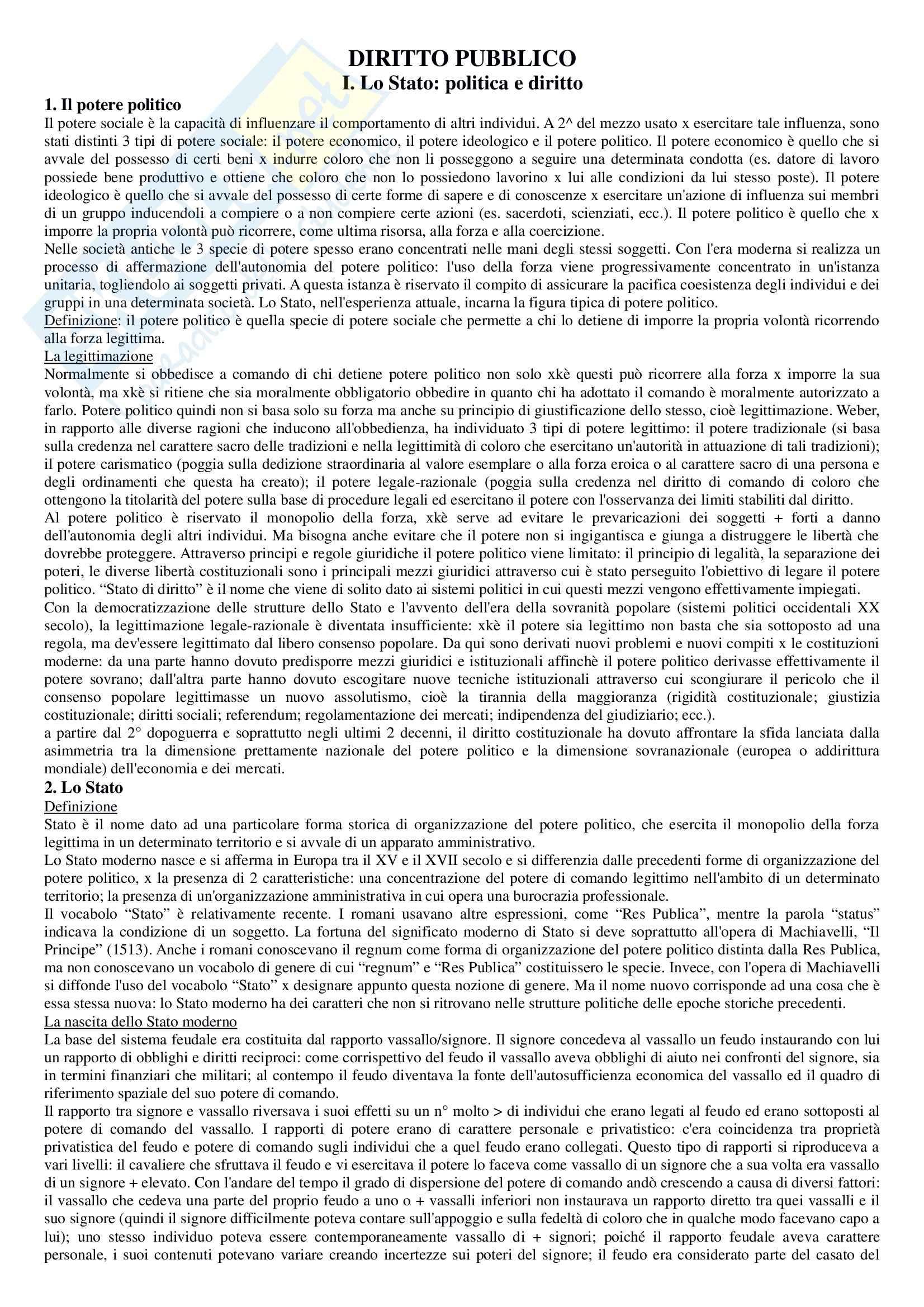 Riassunto esame Diritto pubblico, prof. Strazzari, libro consigliato Diritto pubblico Bin, Pitruzzella, Giappichelli
