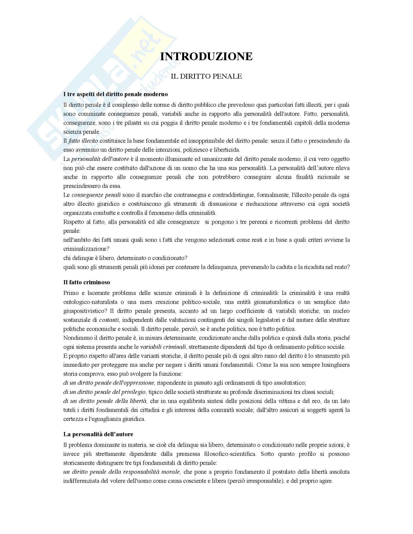 Riassunto esame Diritto penale, prof. Bernardi, libro consigliato Diritto penale, Mantovani (parte generale)