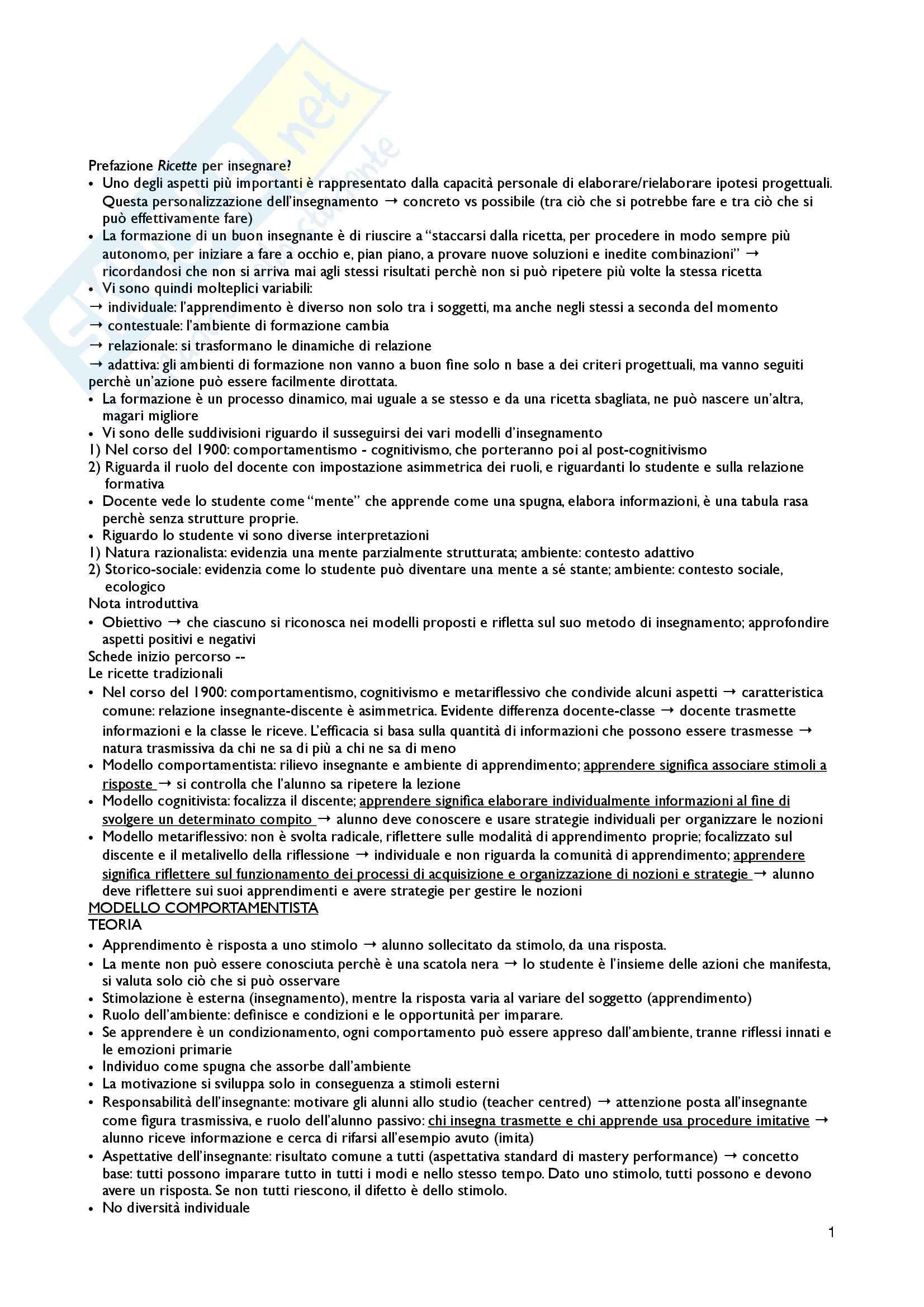 Riassunto esame Pedagogia generale, prof. Kanizsa, libro consigliato Modelli e strumenti di insegnamento, Santoianni