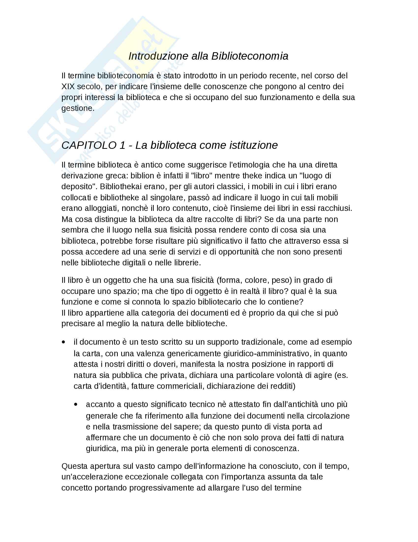 """Riassunto esame Biblioteconomia, prof. Salarelli, libro consigliato """"introduzione alla biblioteconomia"""" di Granata"""